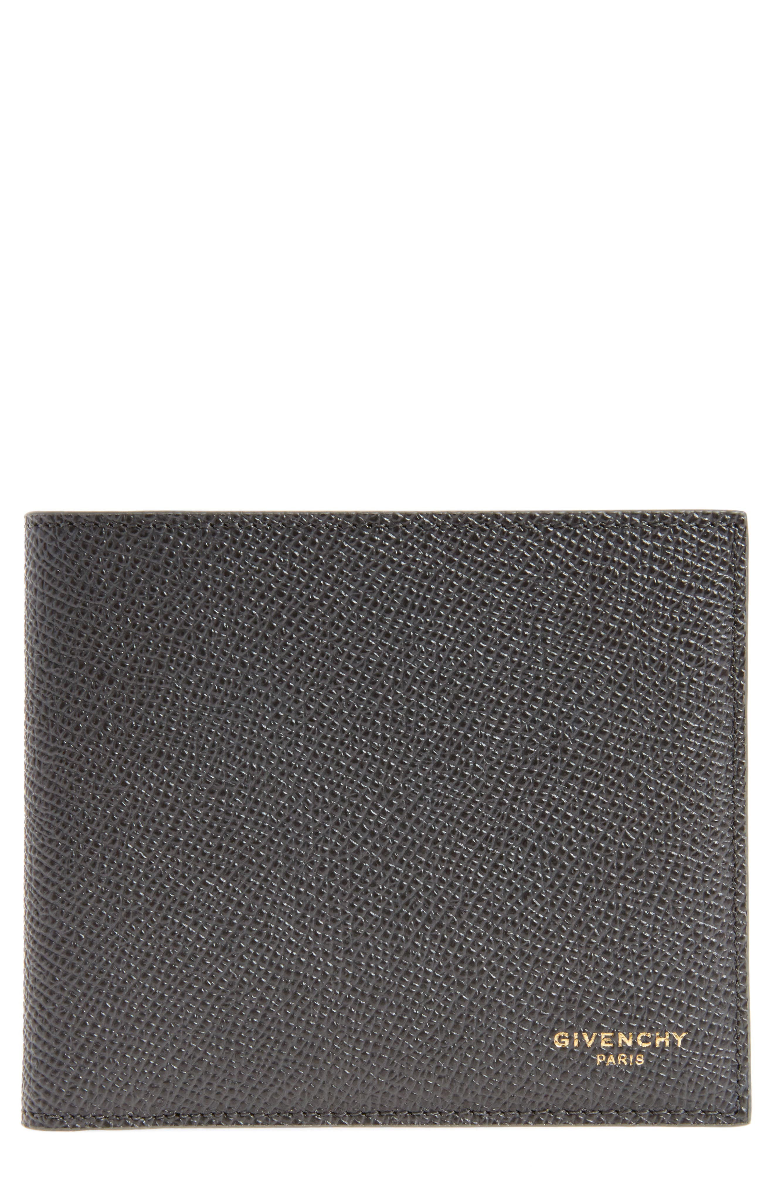 Calfskin Leather Bifold Wallet,                         Main,                         color, Dark Grey