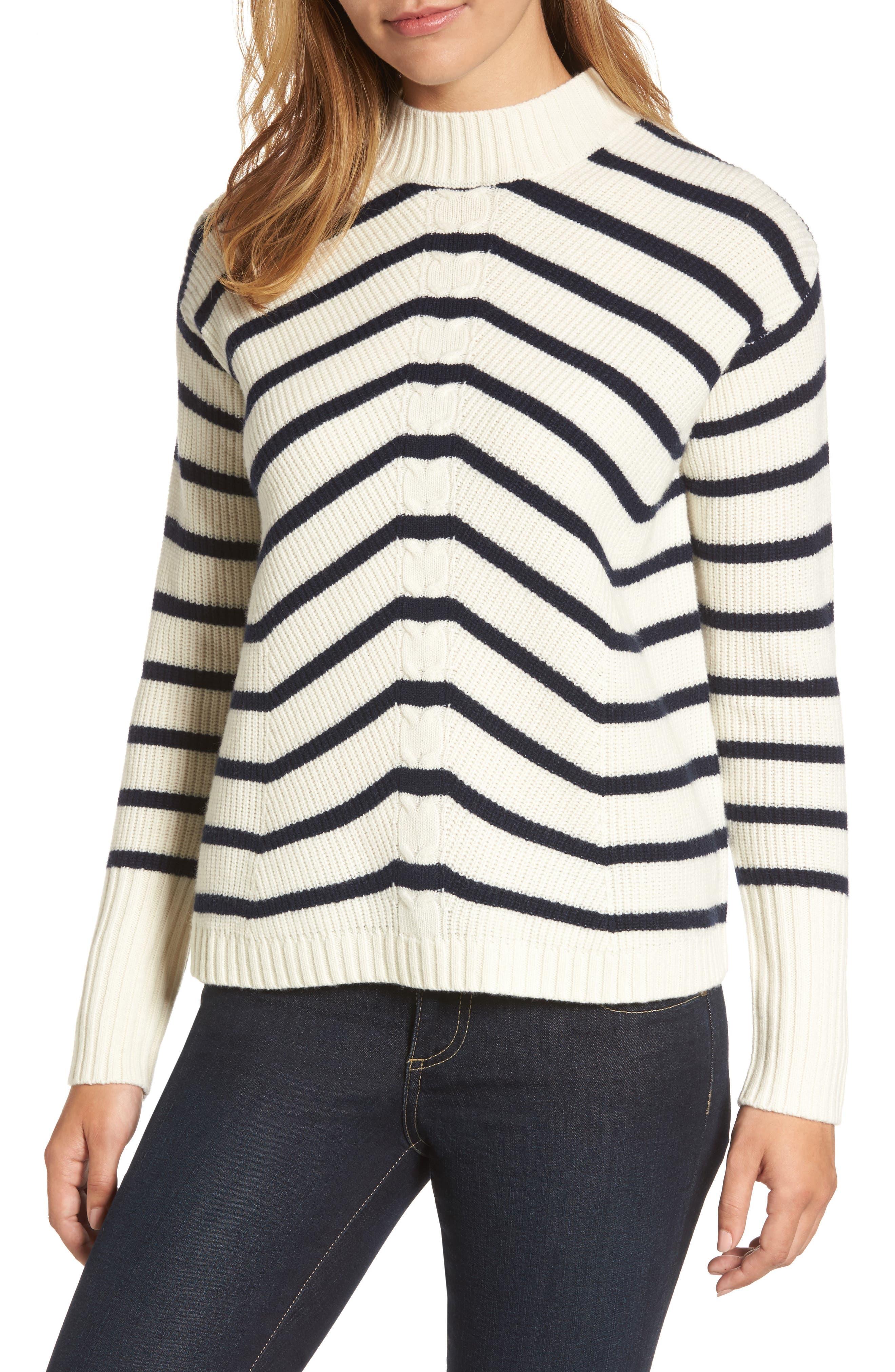 Stripe Fisherman Sweater,                             Main thumbnail 1, color,                             Marshmallow
