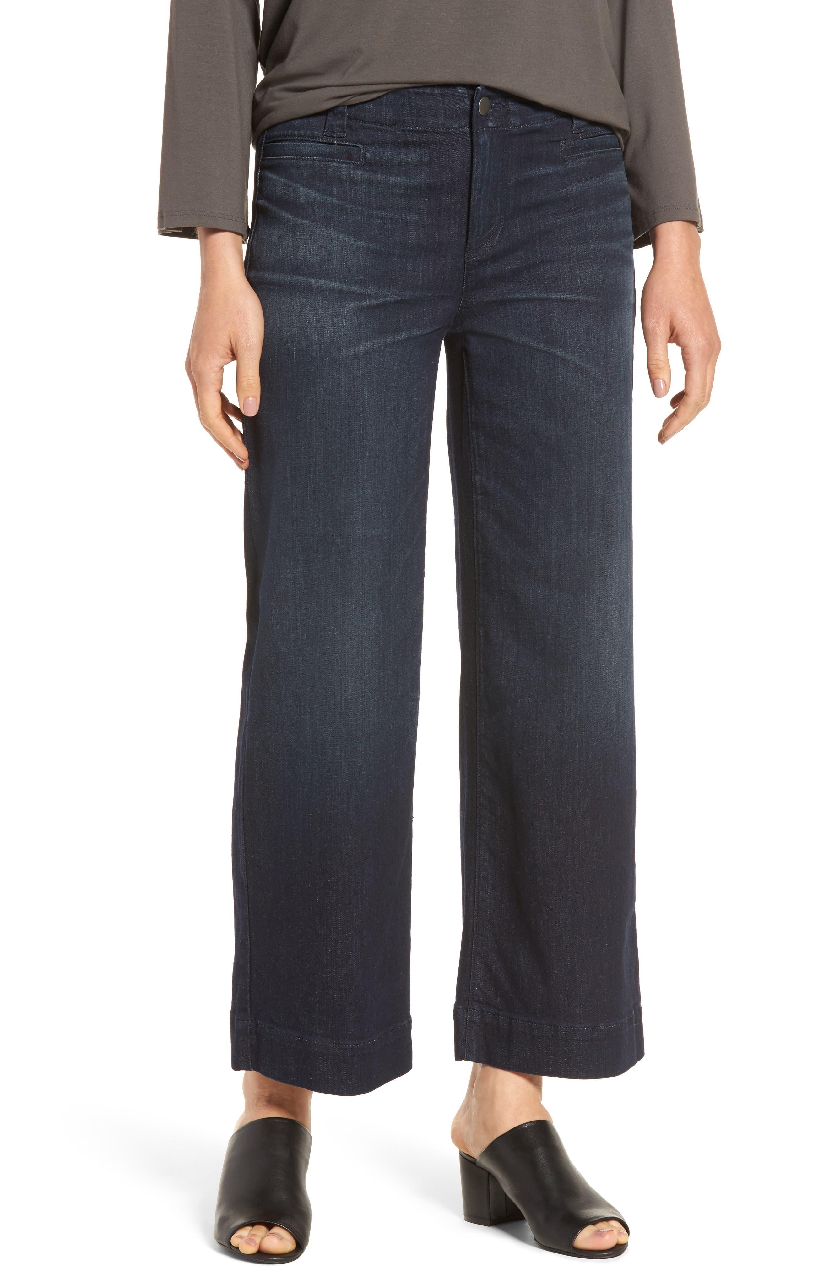 Eileen Fisher Wide Leg Denim Trousers