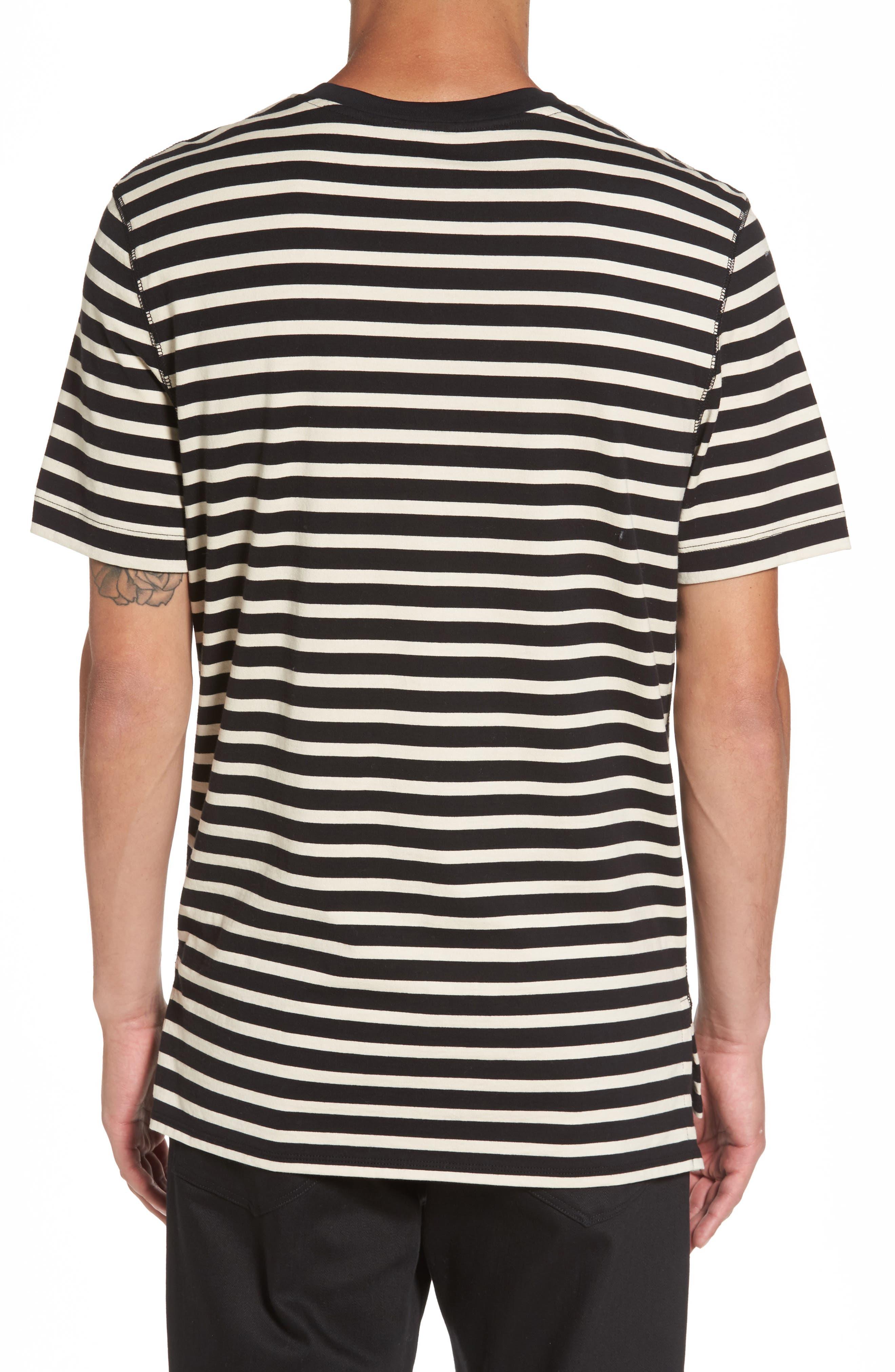 Stripe T-Shirt,                             Alternate thumbnail 2, color,                             Black/ Off White