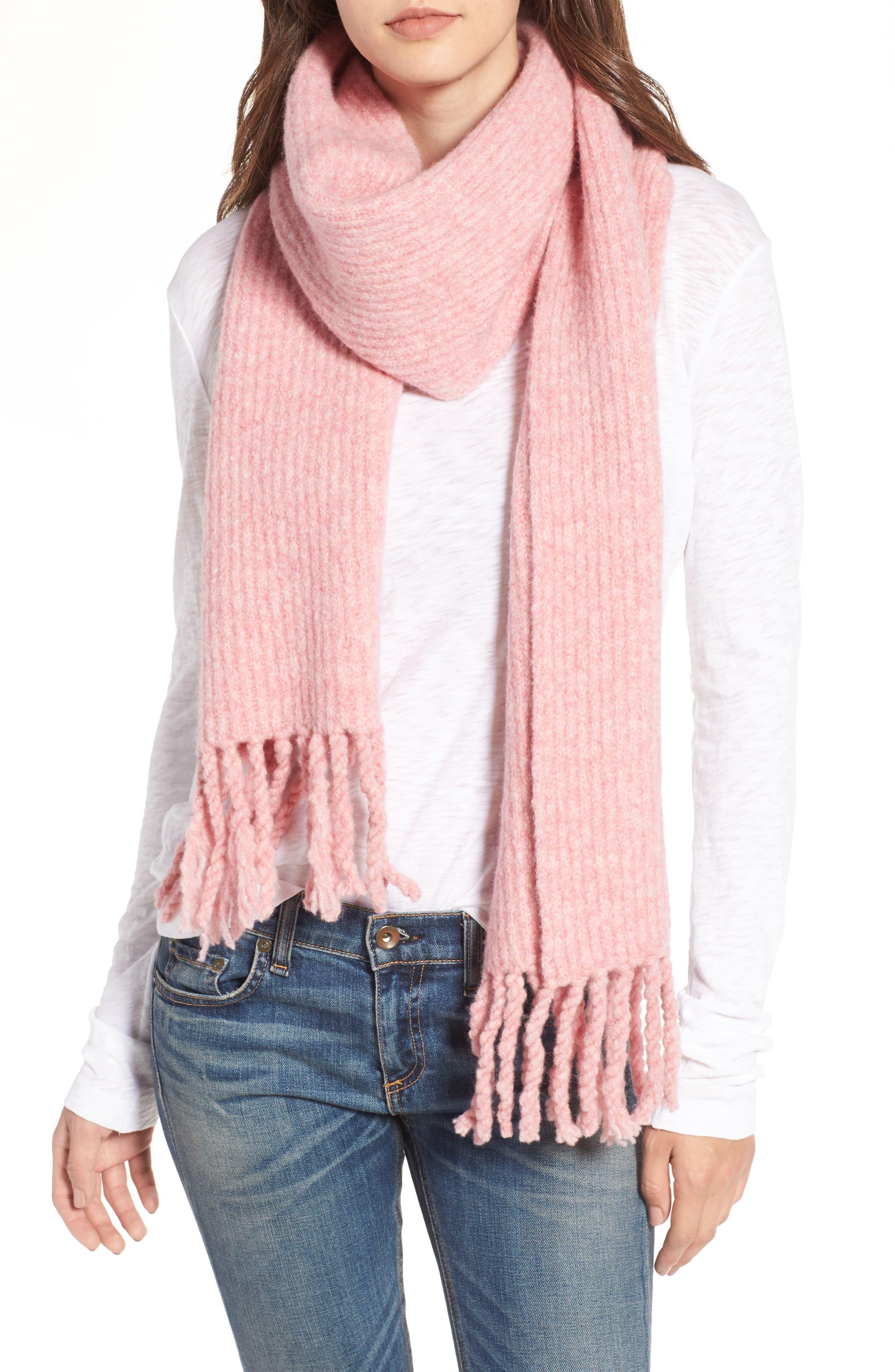 Francie Bouclé Knit Scarf,                             Alternate thumbnail 3, color,                             Pink