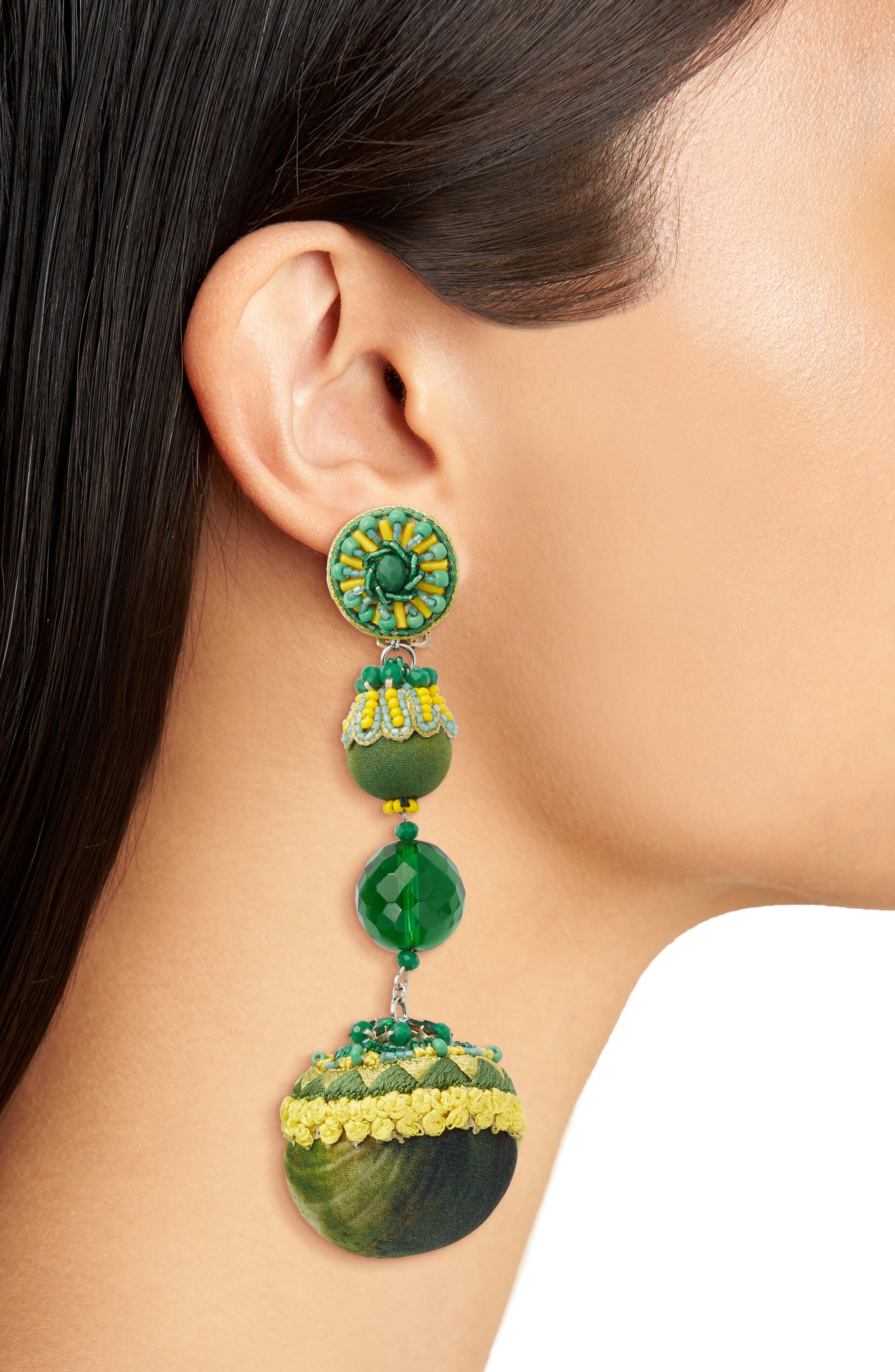 Lily Linear Earrings,                             Alternate thumbnail 2, color,                             Green / Yellow