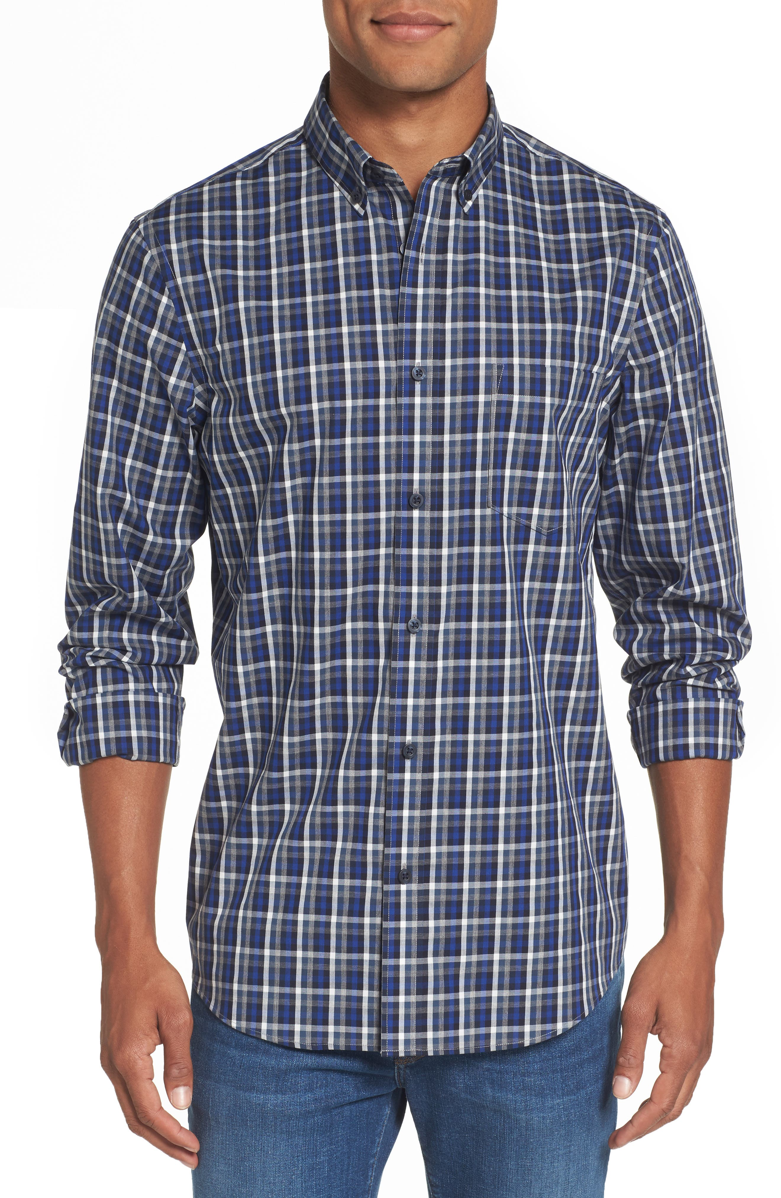 Regular Fit Non-Iron Spade Check Dress Shirt,                         Main,                         color, Blue Estate Black Check