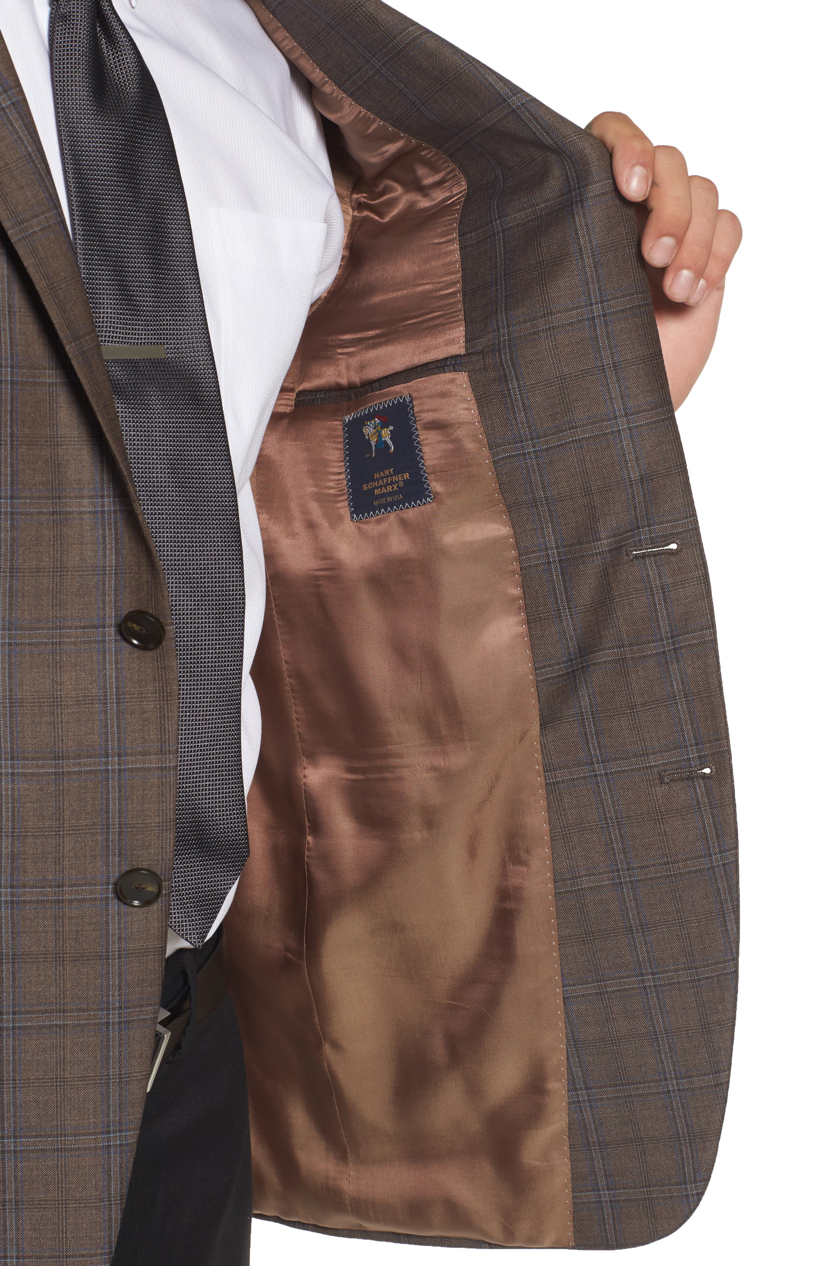 Classic Fit Plaid Wool Sport Coat,                             Alternate thumbnail 4, color,                             Medium Brown