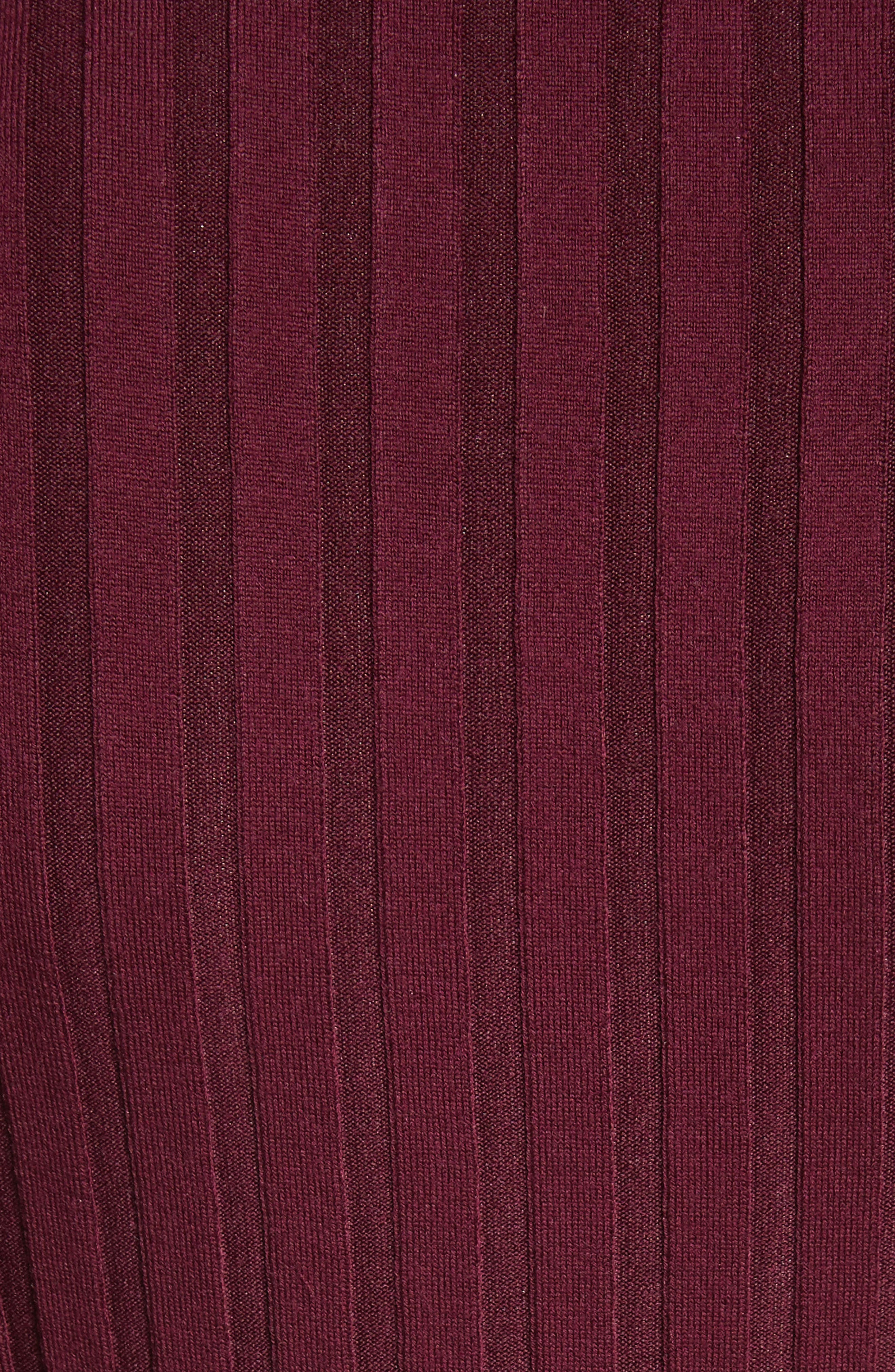 Corina Fitted Turtleneck Sweater,                             Alternate thumbnail 5, color,                             Burgundy