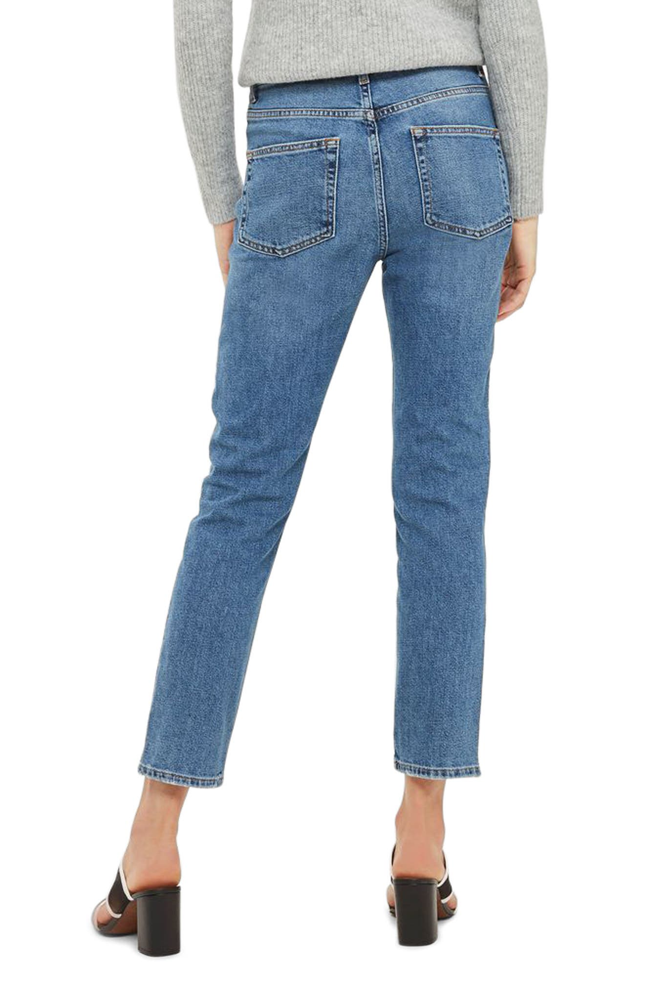 Zip Straight Leg Jeans,                             Alternate thumbnail 2, color,                             Mid Denim
