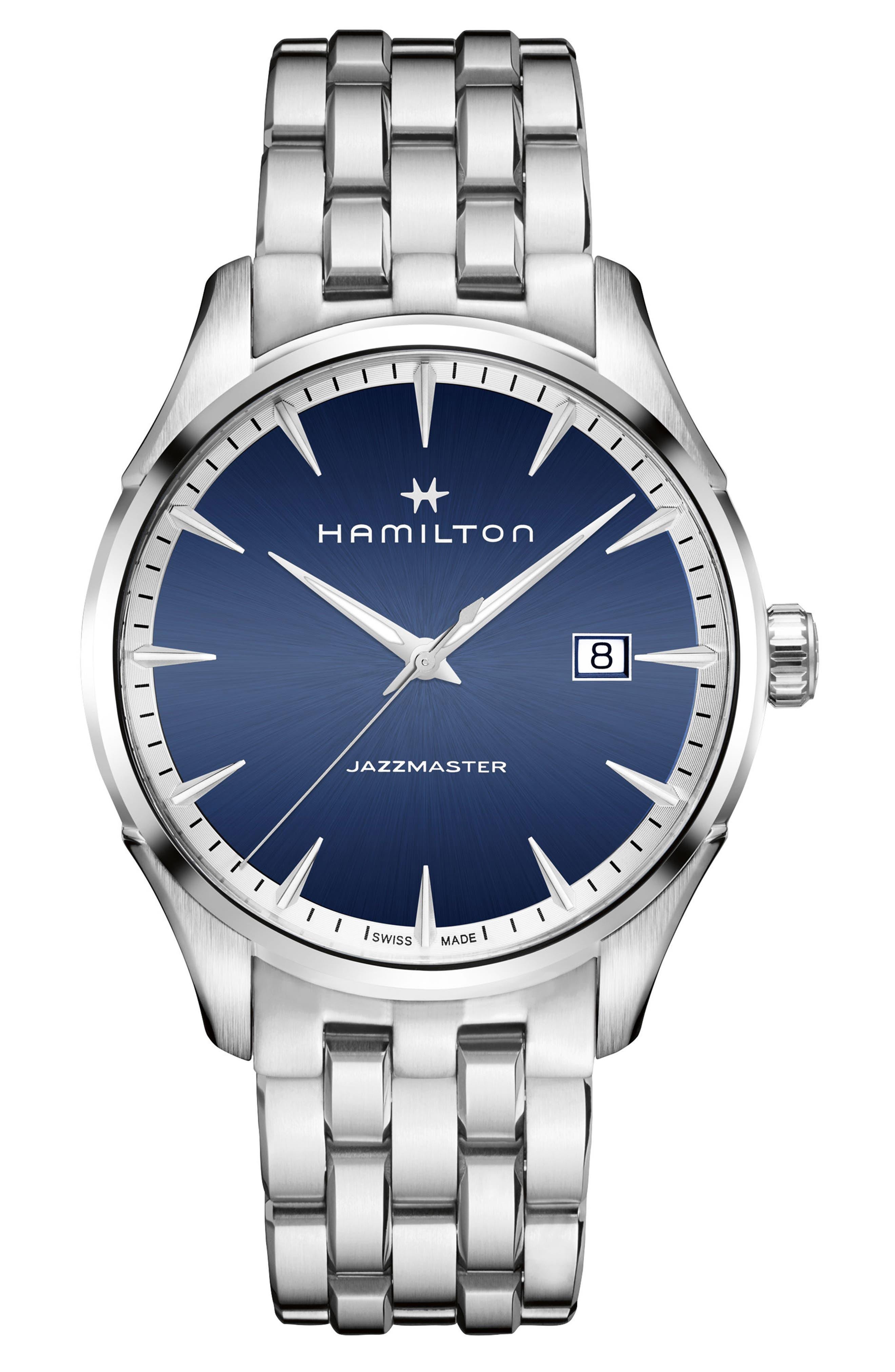 Jazzmaster Bracelet Watch, 40mm,                         Main,                         color, Silver/ Blue/ Silver