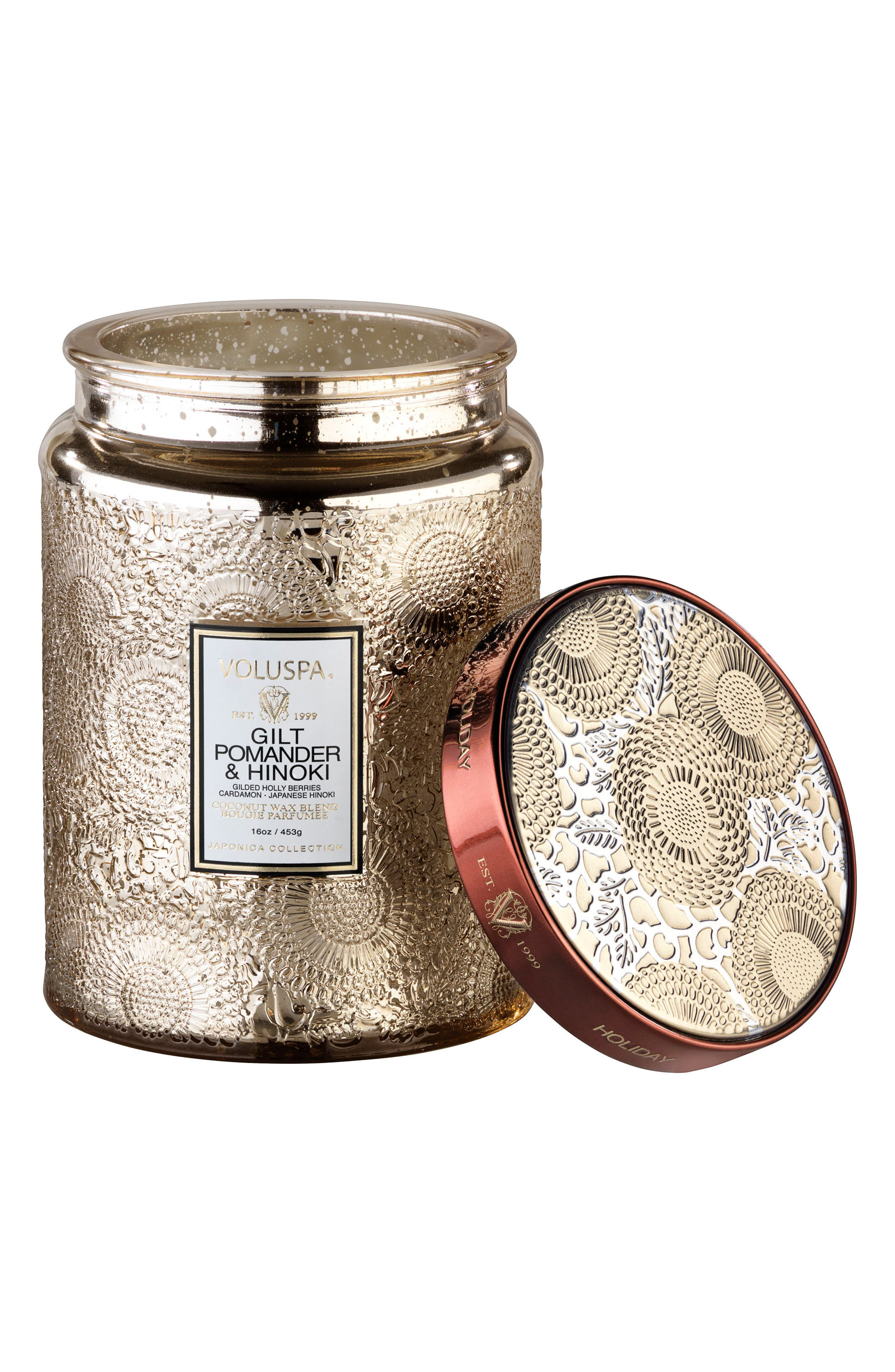 Voluspa Gilt Pomander & Hinoki Large Glass Jar Candle