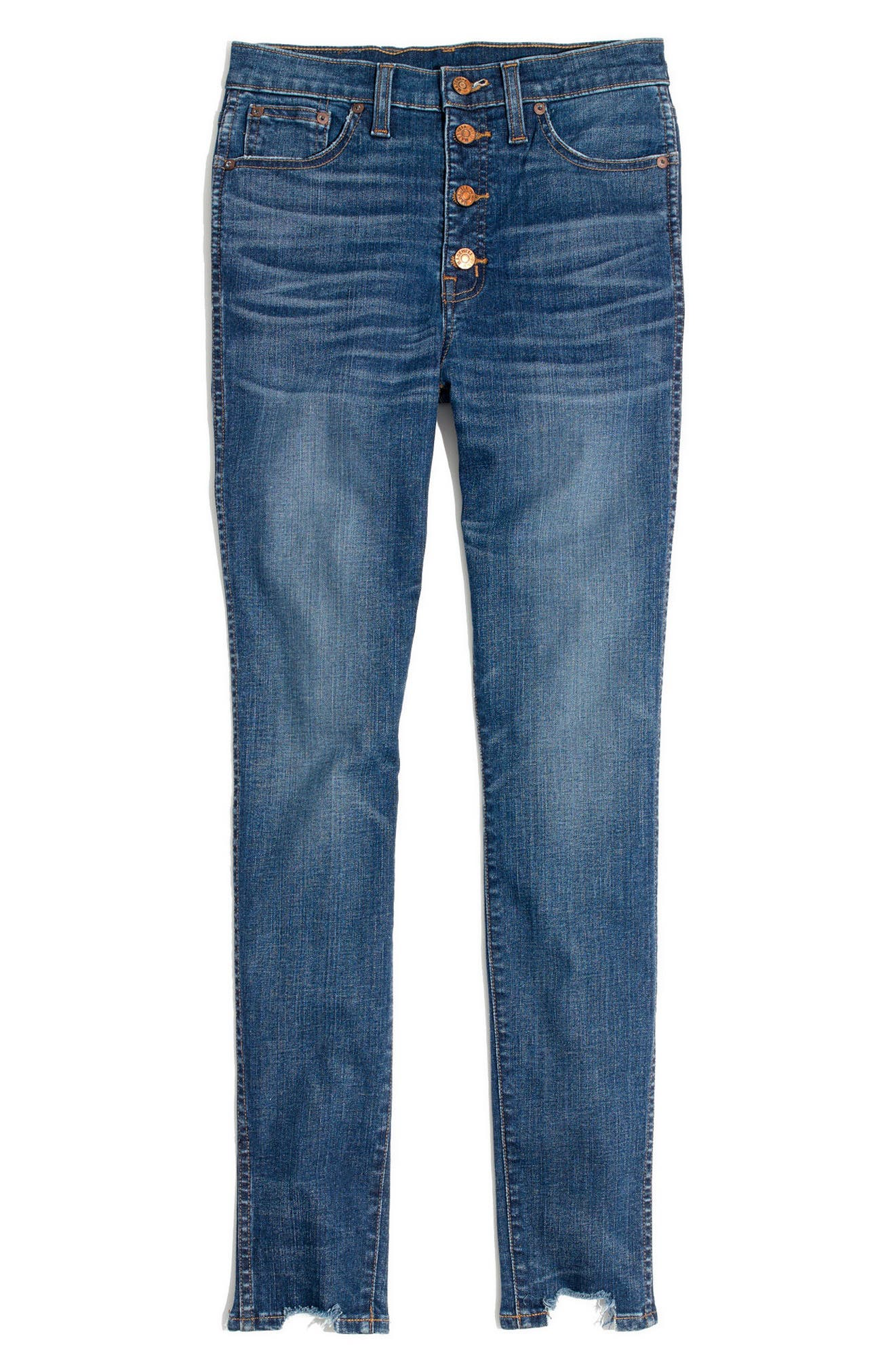 10-Inch Chewed Hem Skinny Jeans,                             Alternate thumbnail 4, color,                             Copeland