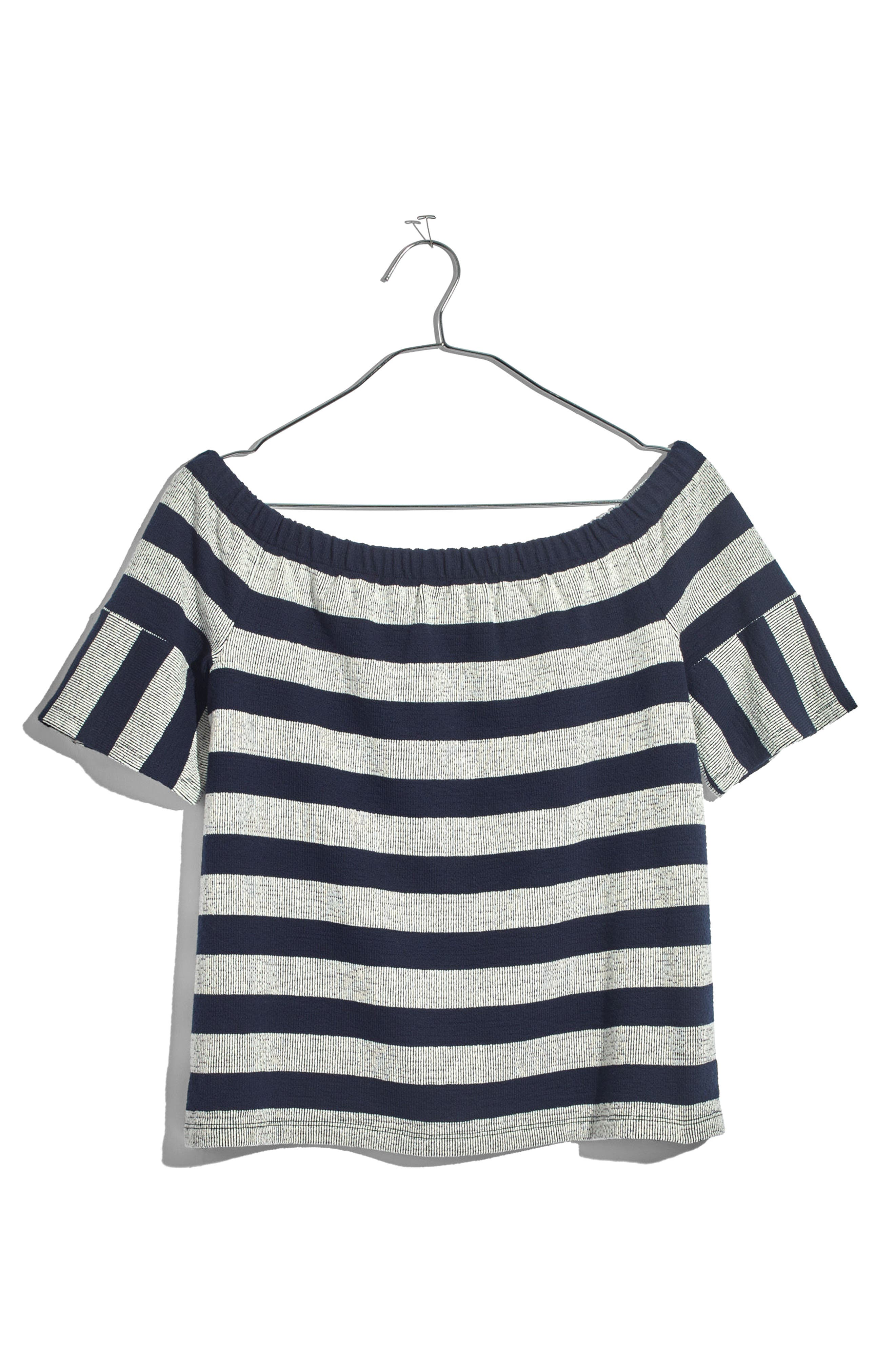 Stripe Off the Shoulder Texture Top,                             Alternate thumbnail 4, color,                             Deep Navy