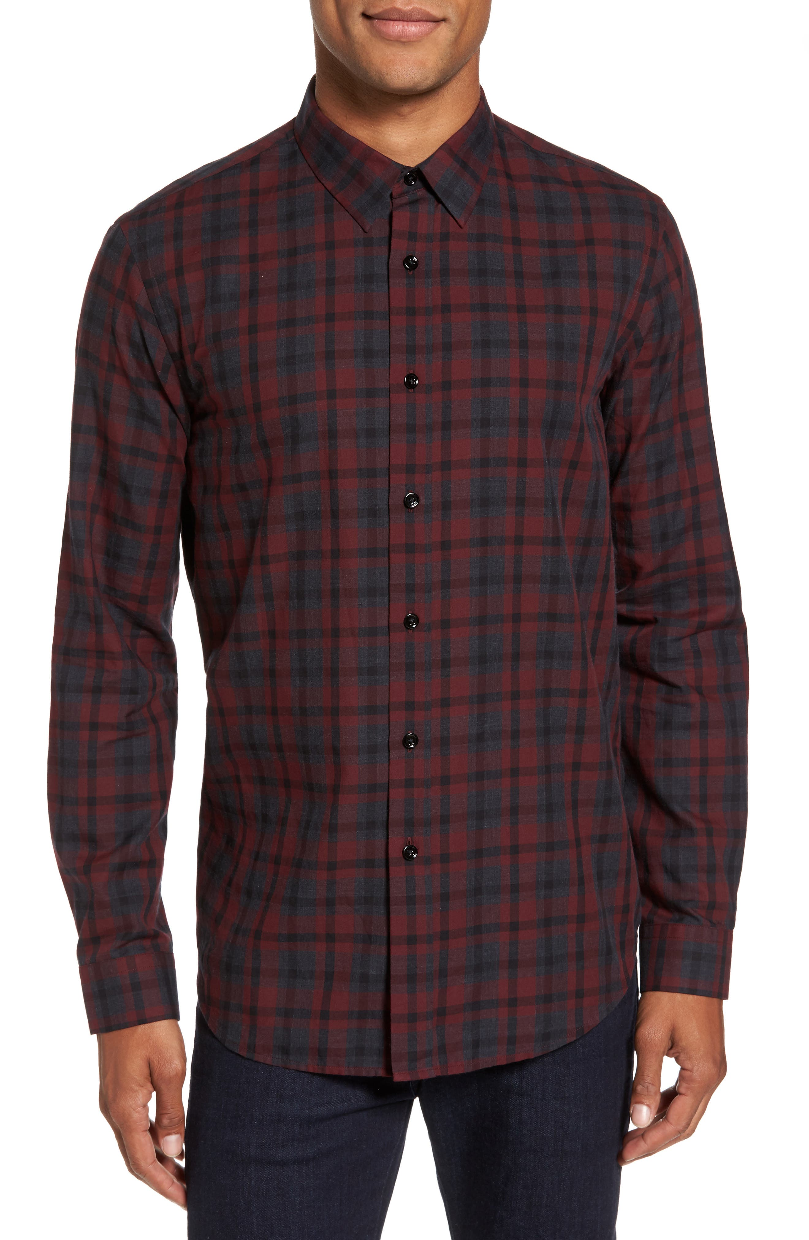 Theory Trim Fit Plaid Twill Sport Shirt