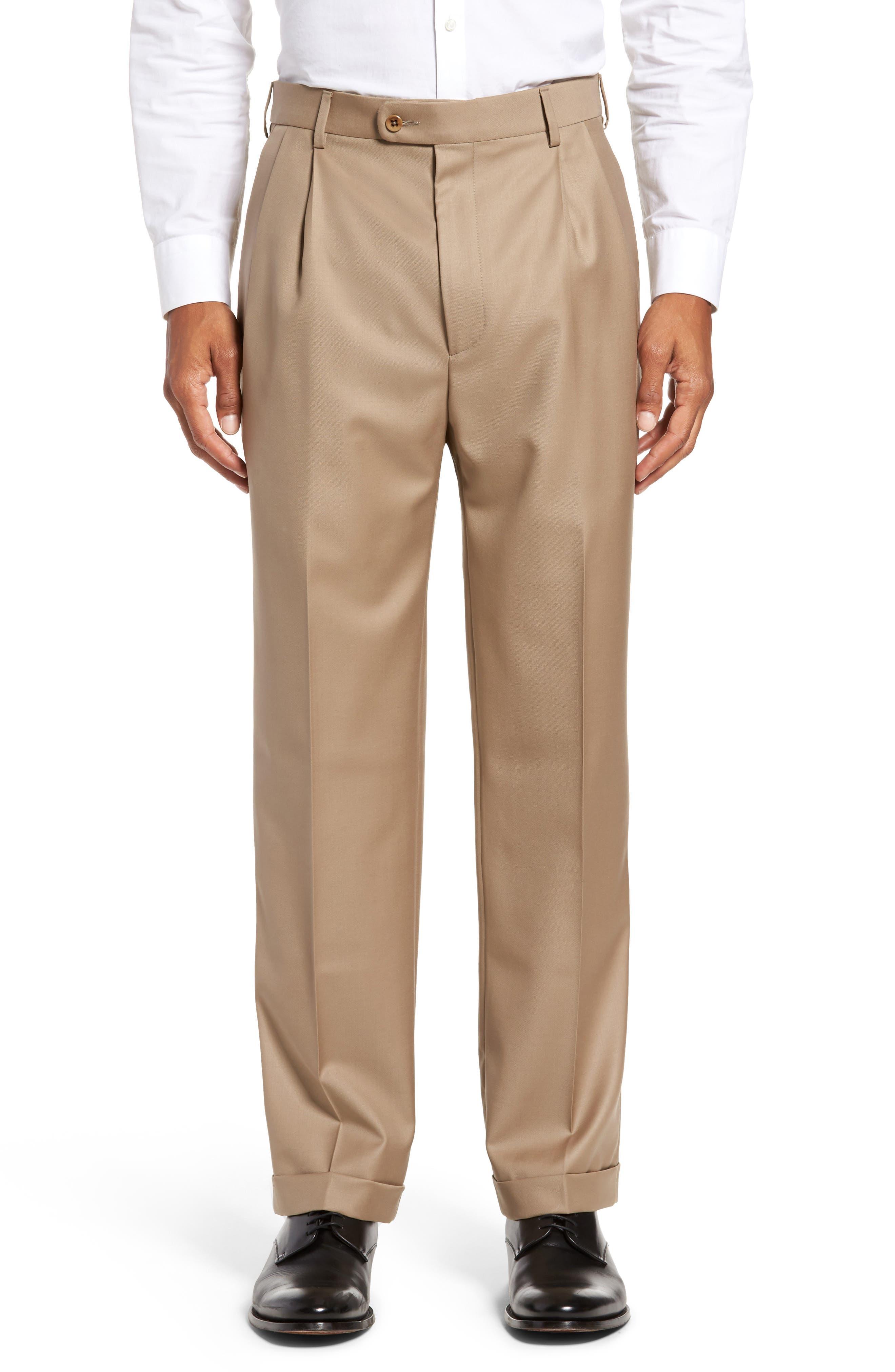 ZANELLA Bennett Regular Fit Pleated Trousers in Dark Beige