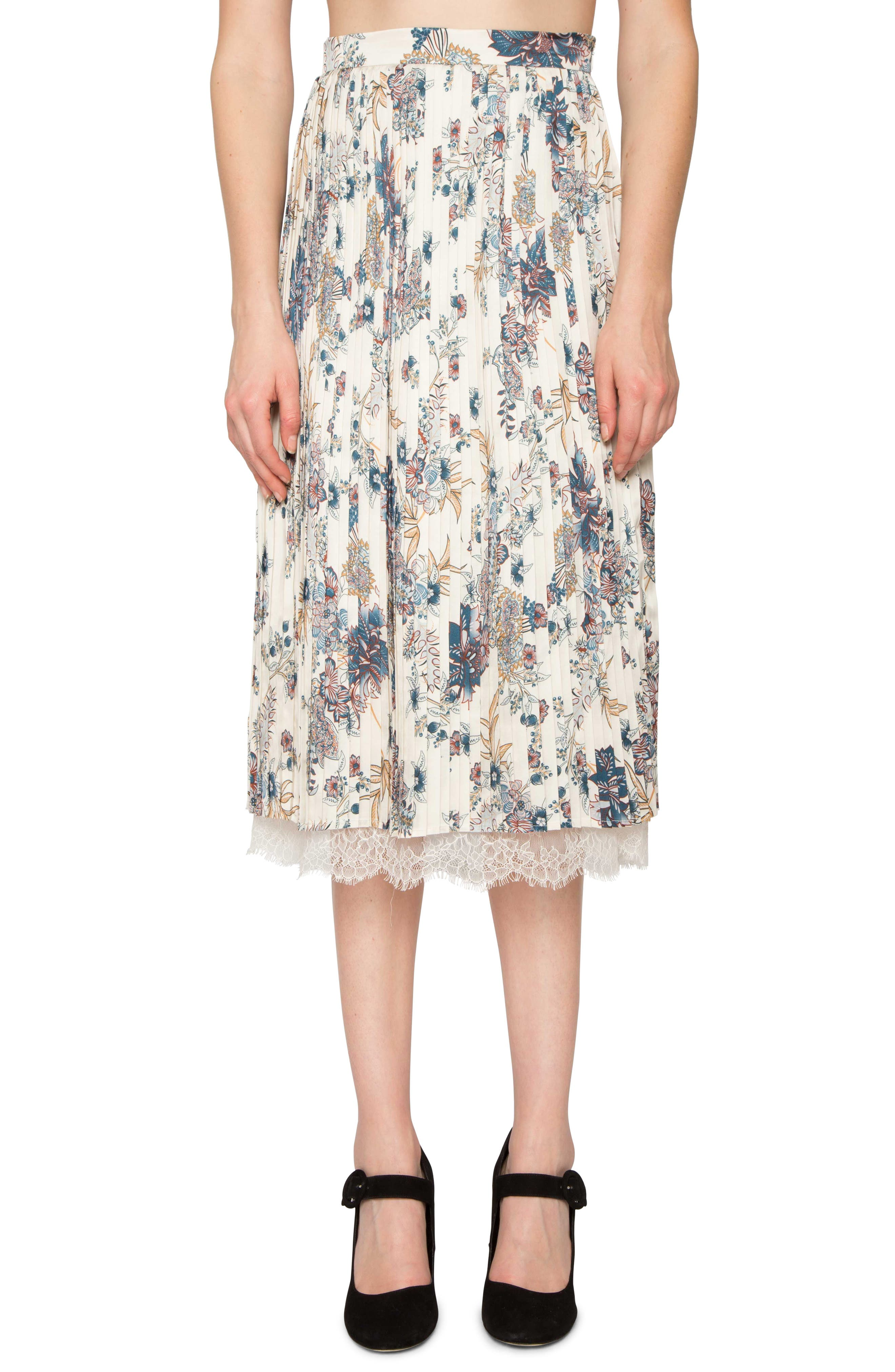 Print Pleated Skirt,                         Main,                         color, Pearl