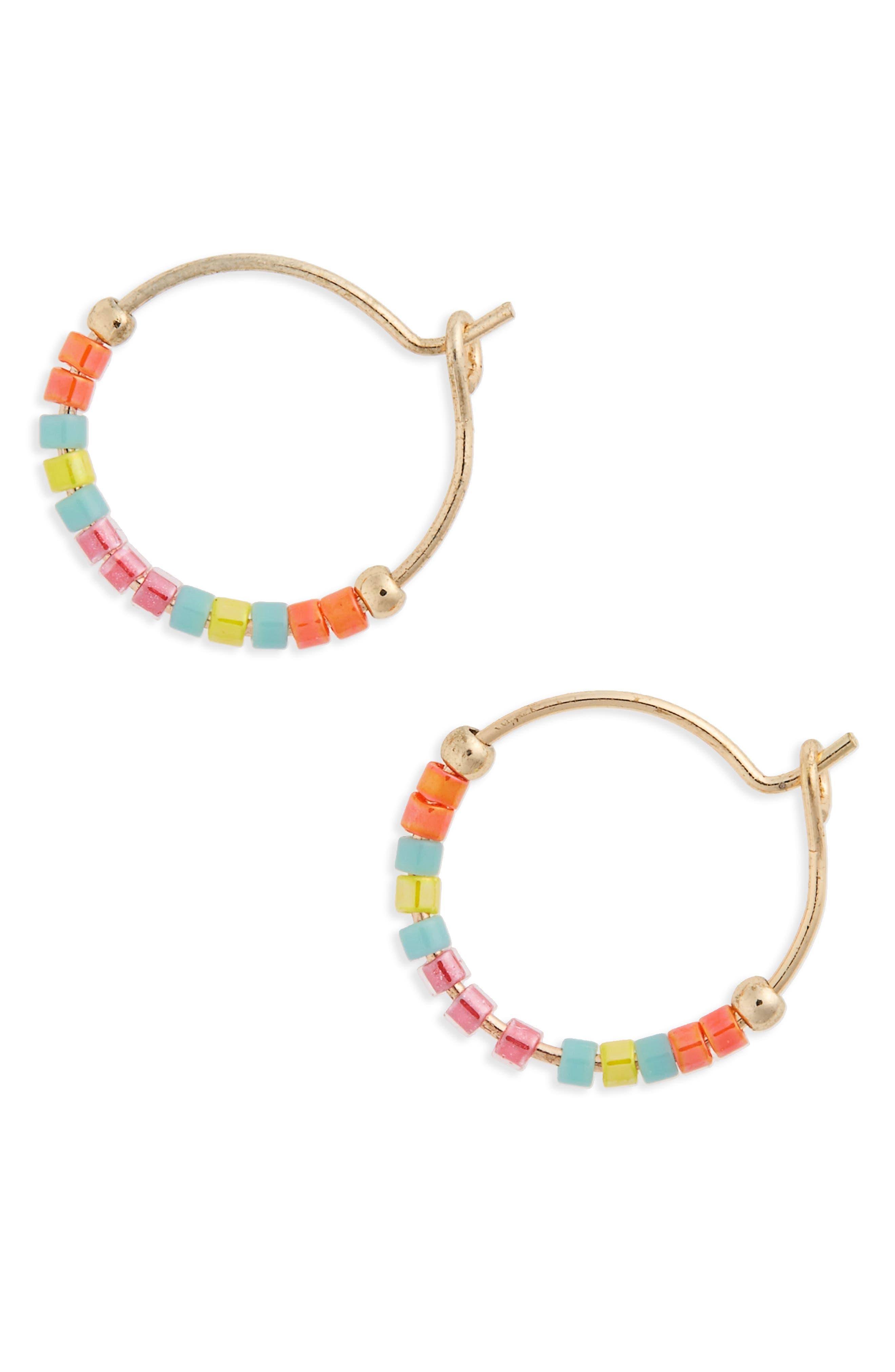 Topshop Small Seed Bead Hoop Earrings
