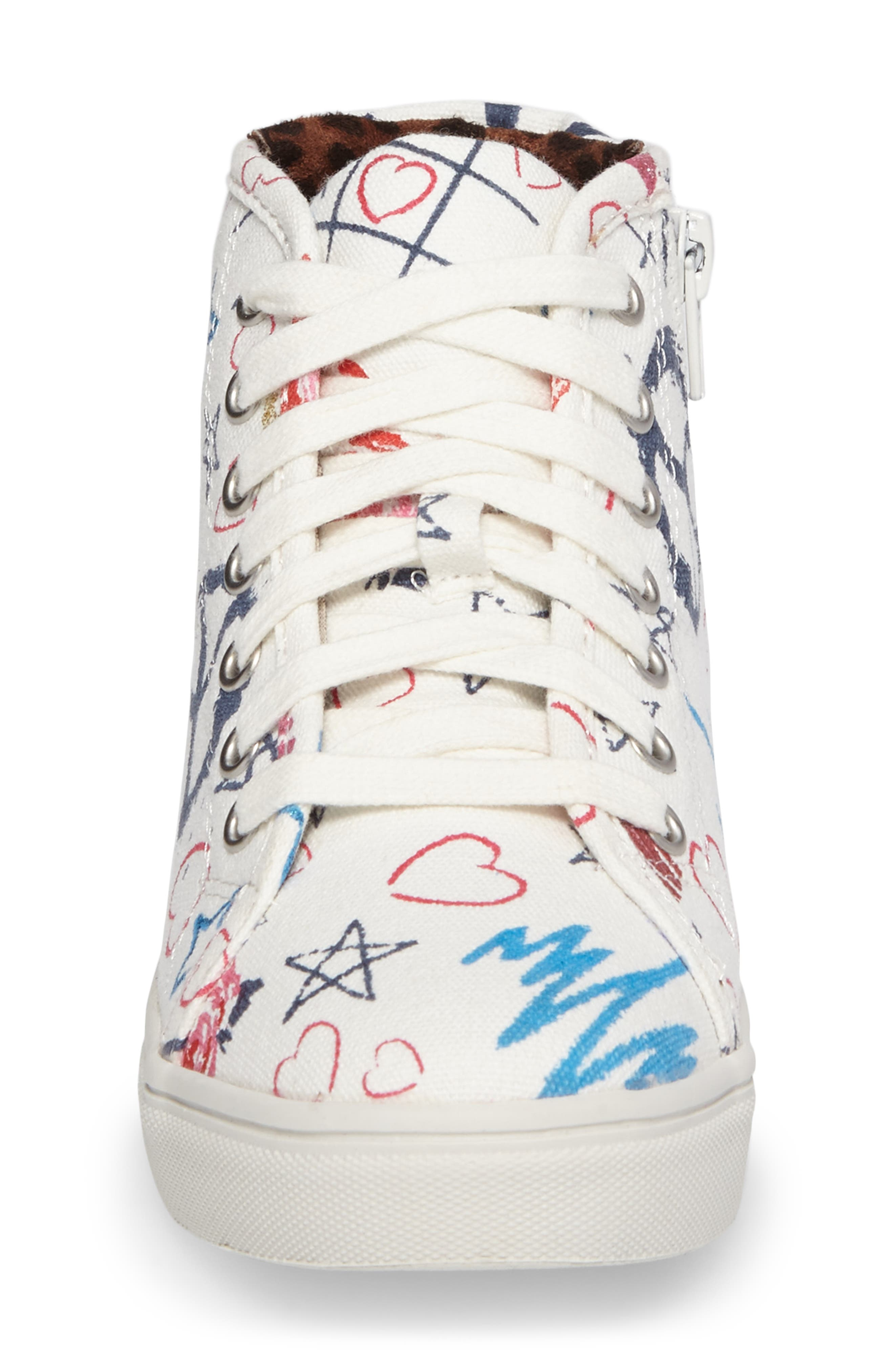 JScribble High Top Sneaker,                             Alternate thumbnail 4, color,                             White