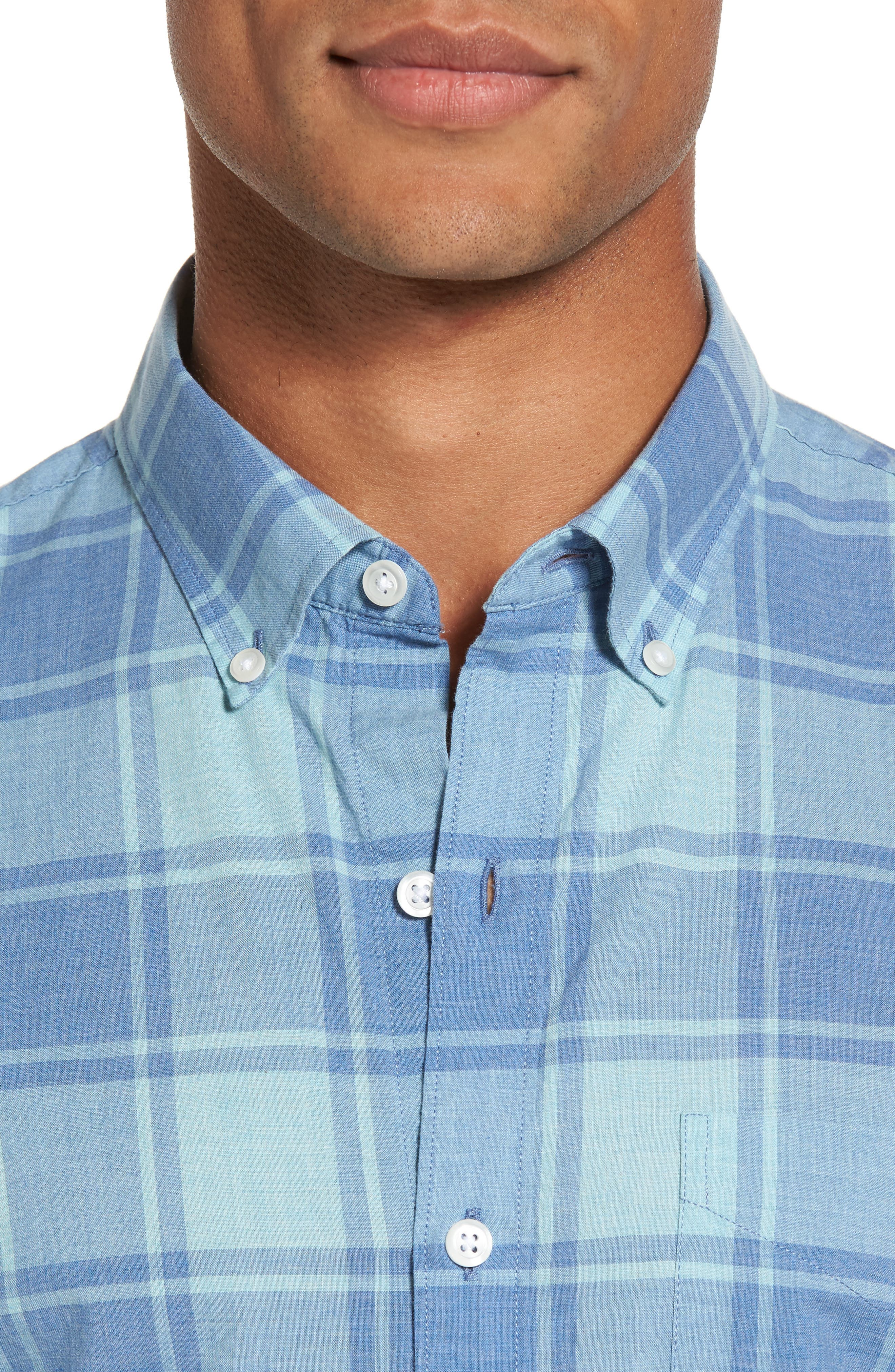 Summerweight Slim Cut Large Check Sport Shirt,                             Alternate thumbnail 4, color,                             Heather Blue Plaid