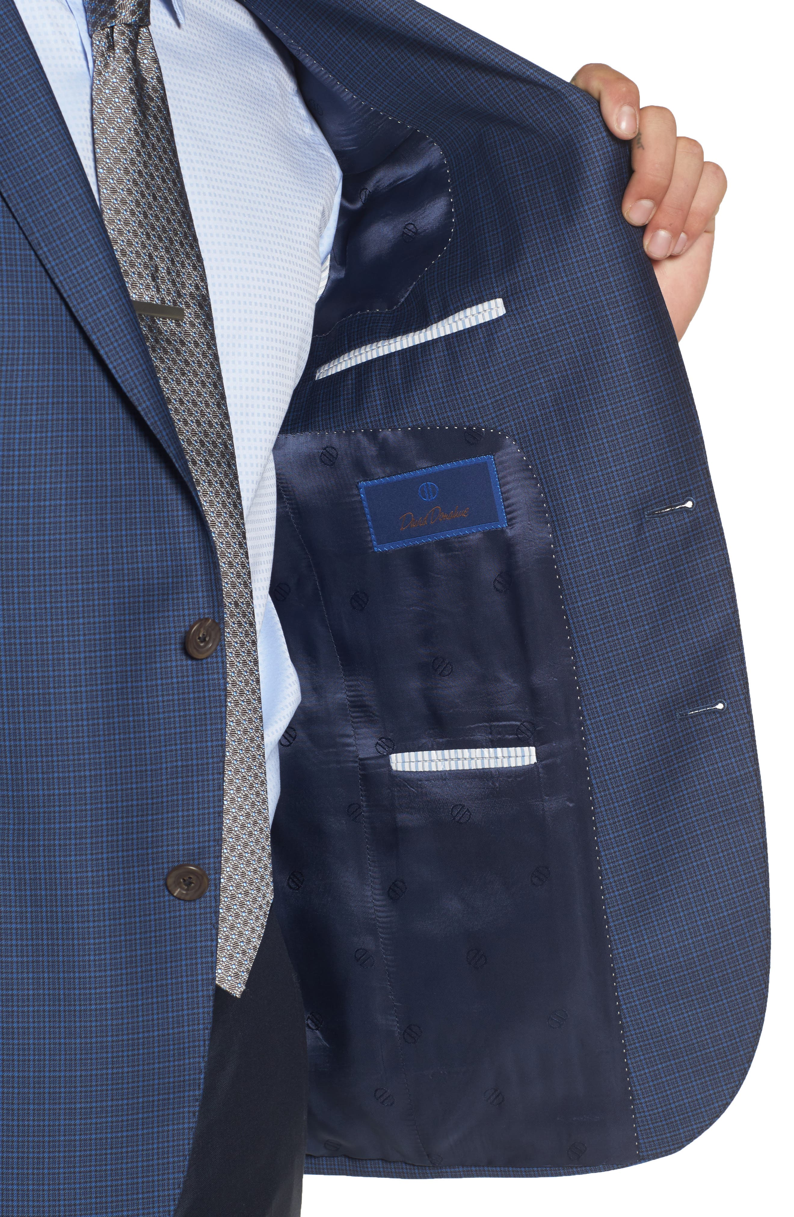 Connor Classic Fit Check Wool Sport Coat,                             Alternate thumbnail 4, color,                             Blue
