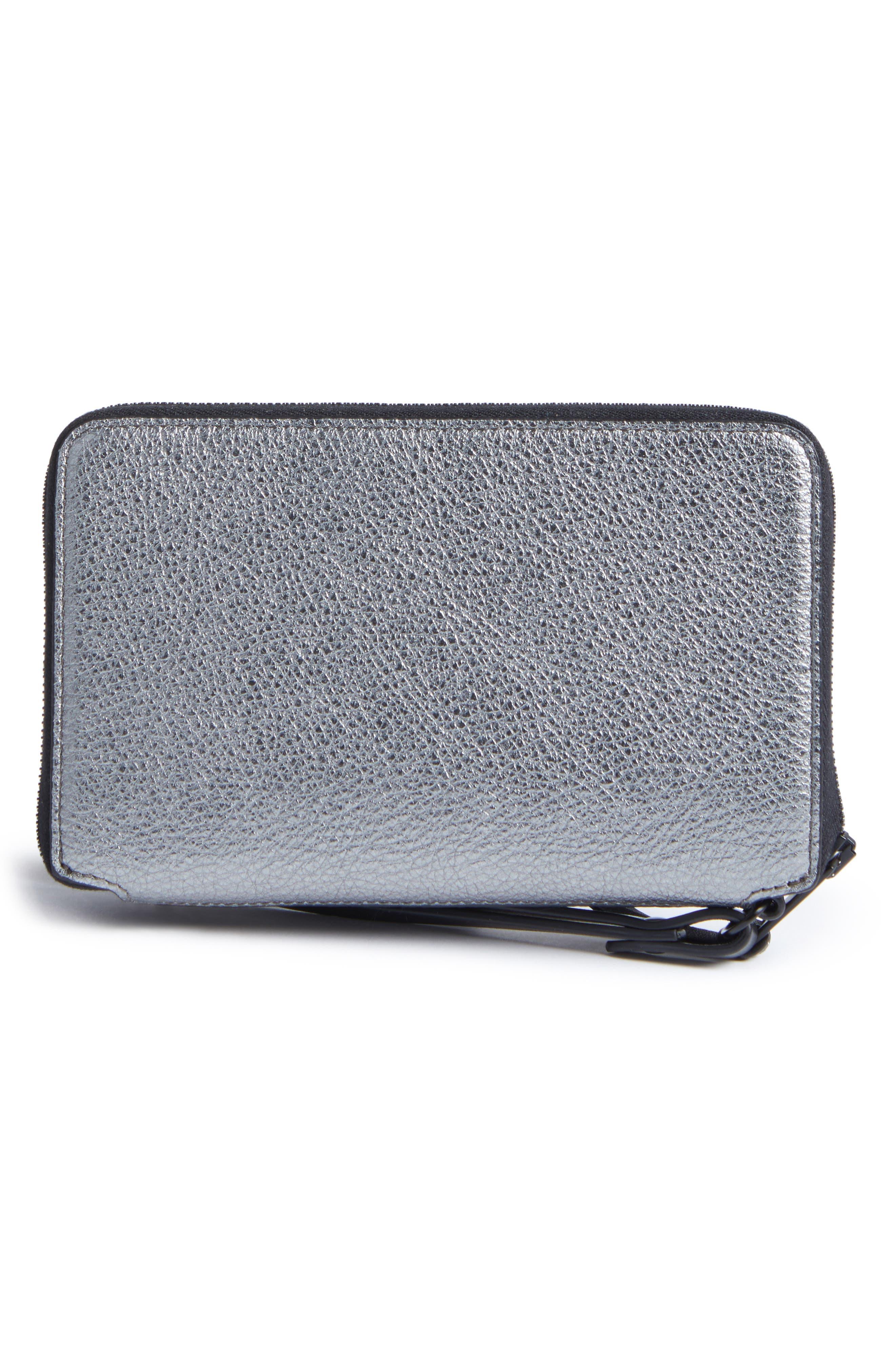 Devon Metallic Buffalo Leather Phone Wallet,                             Alternate thumbnail 3, color,                             Gunmetal