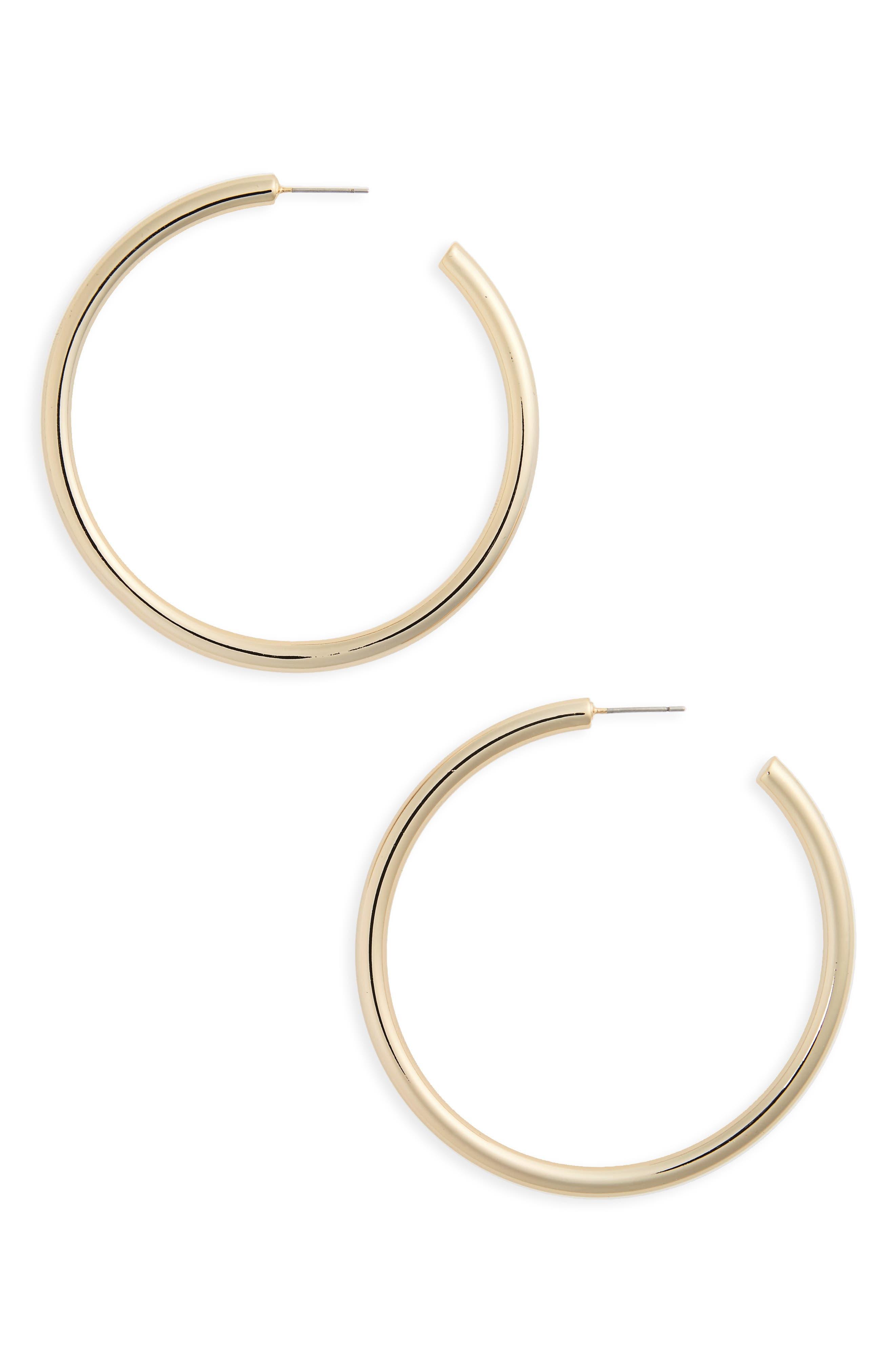 Large Sleek Tube Hoop Earrings,                         Main,                         color, Gold