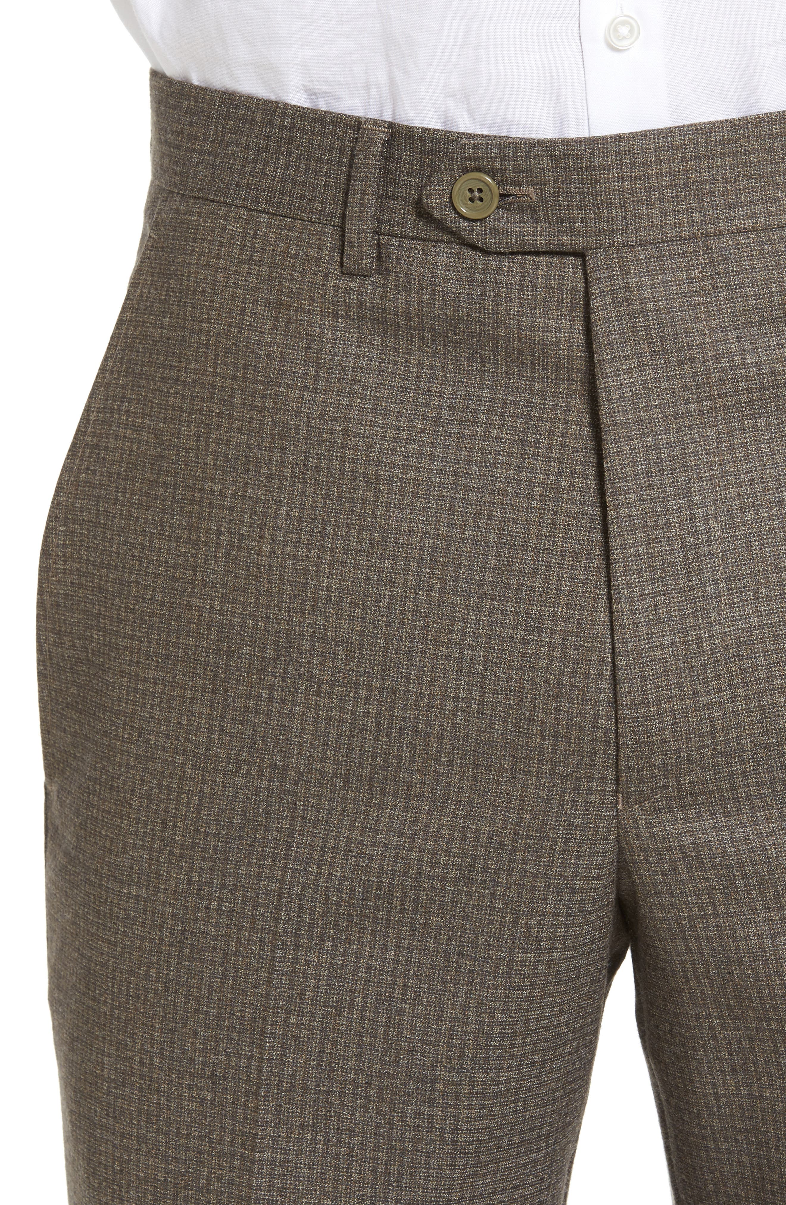 Romero Regular Fit Flat Front Trousers,                             Alternate thumbnail 4, color,                             Taupe
