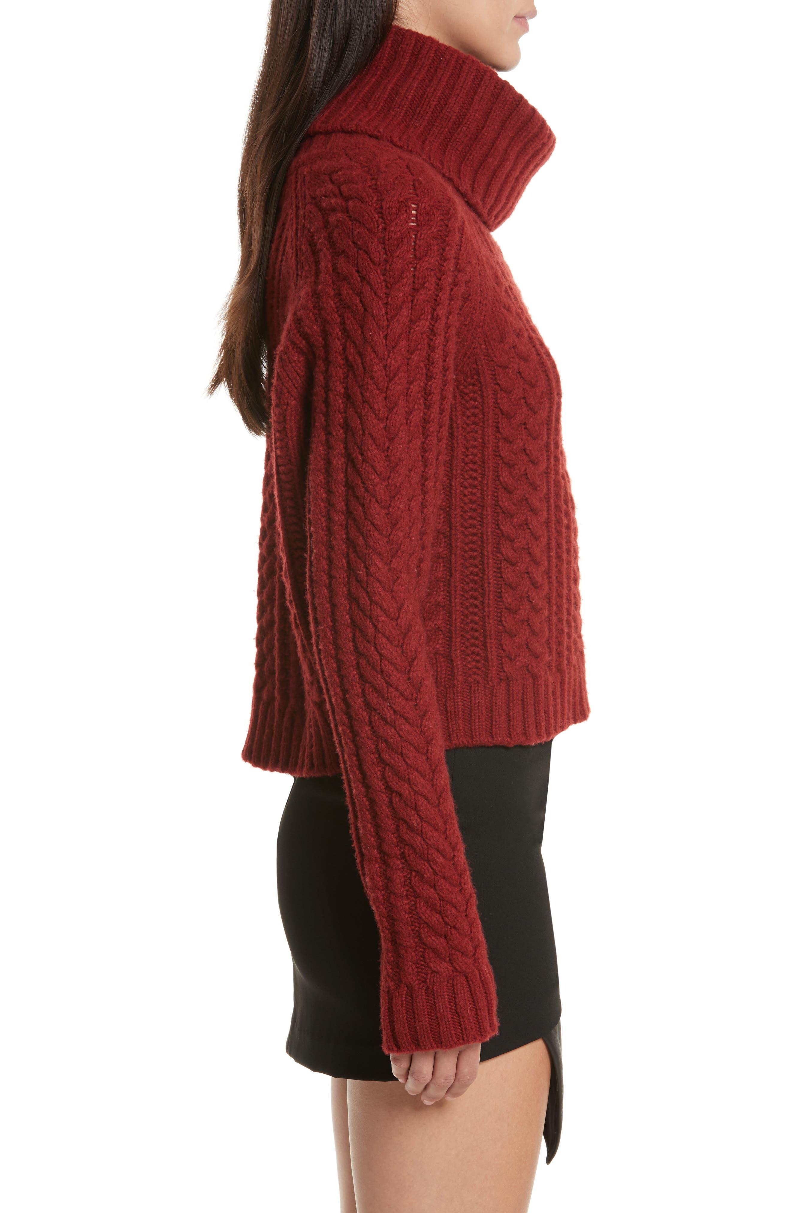 Tobin Cable Knit Crop Turtleneck Sweater,                             Alternate thumbnail 3, color,                             Bordeaux