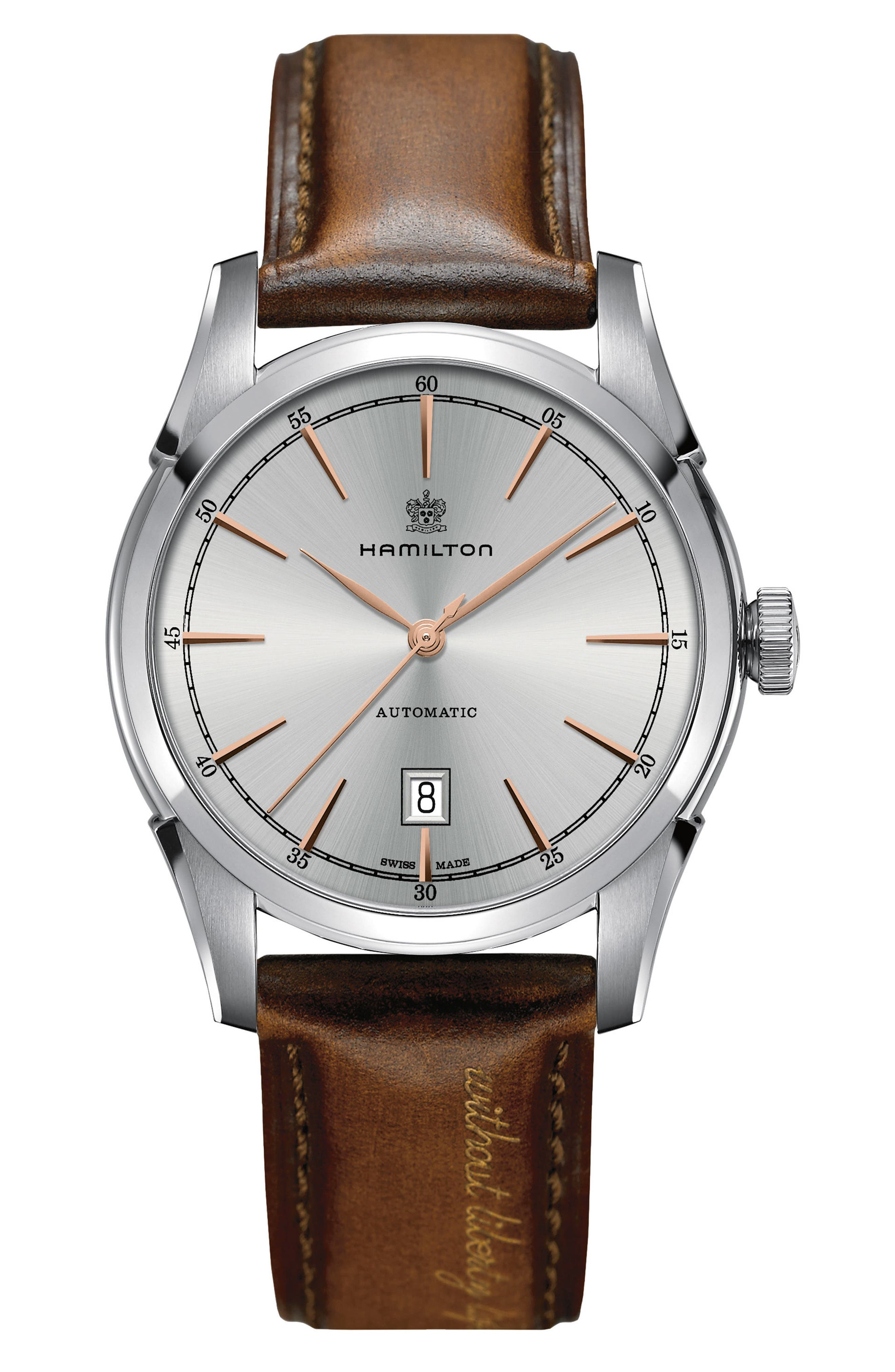 HAMILTON American Classic Automatic Leather Strap Watch, 42mm