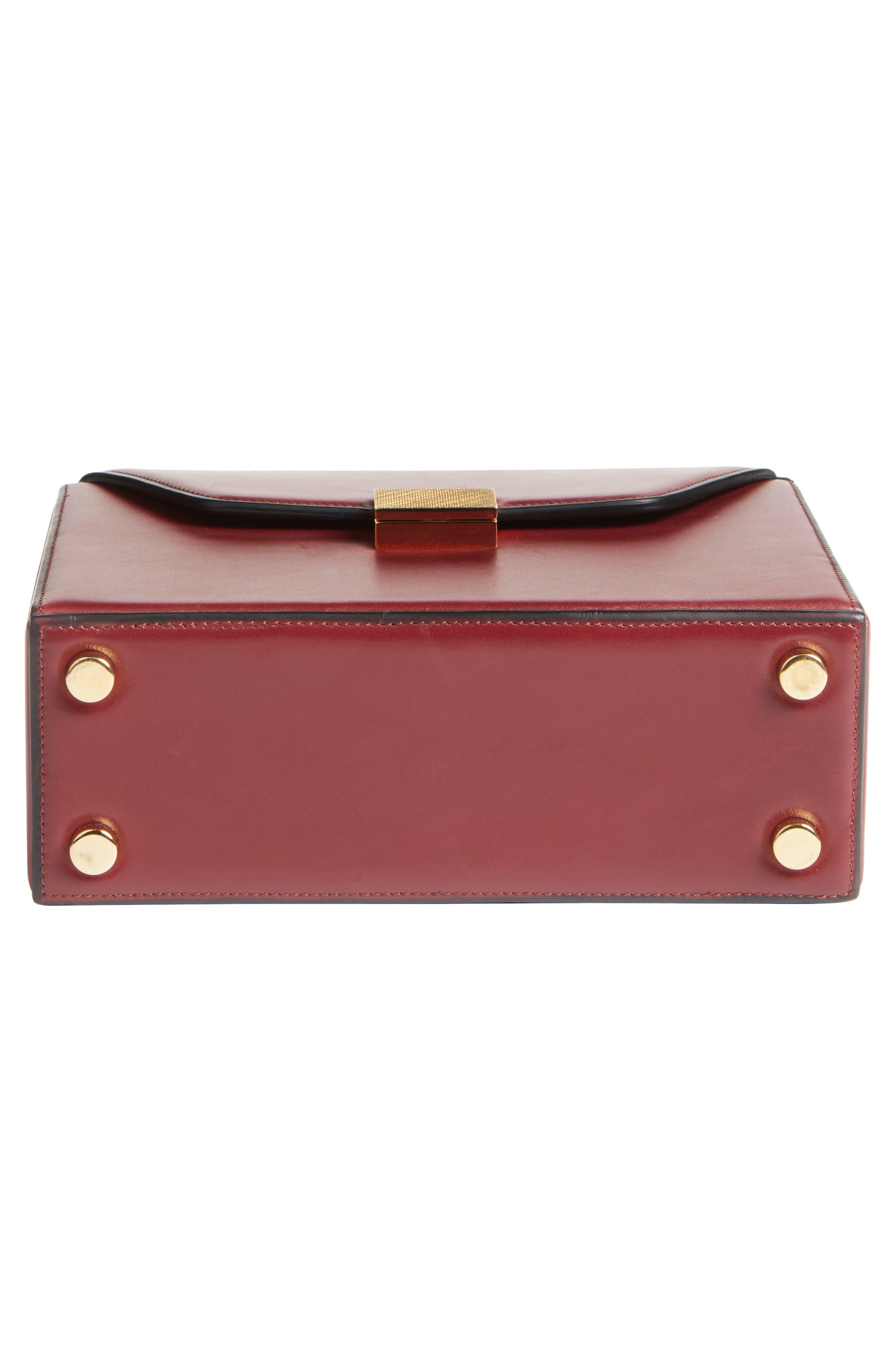Mini Vanity Top Handle Box Bag,                             Alternate thumbnail 5, color,                             Bordeaux