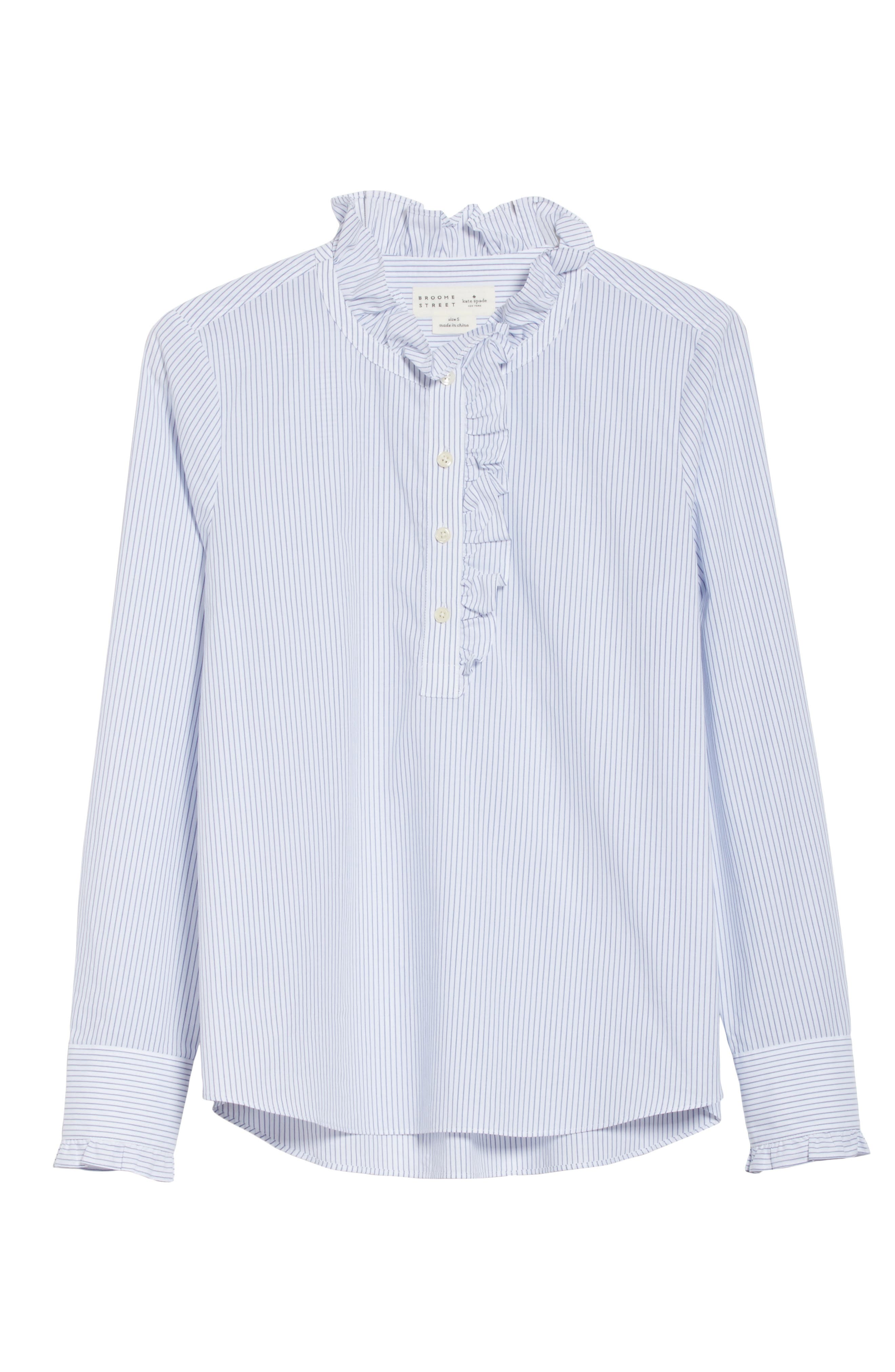 stripe ruffle neck poplin shirt,                             Alternate thumbnail 7, color,                             Fresh White/ Deep Ultramarine