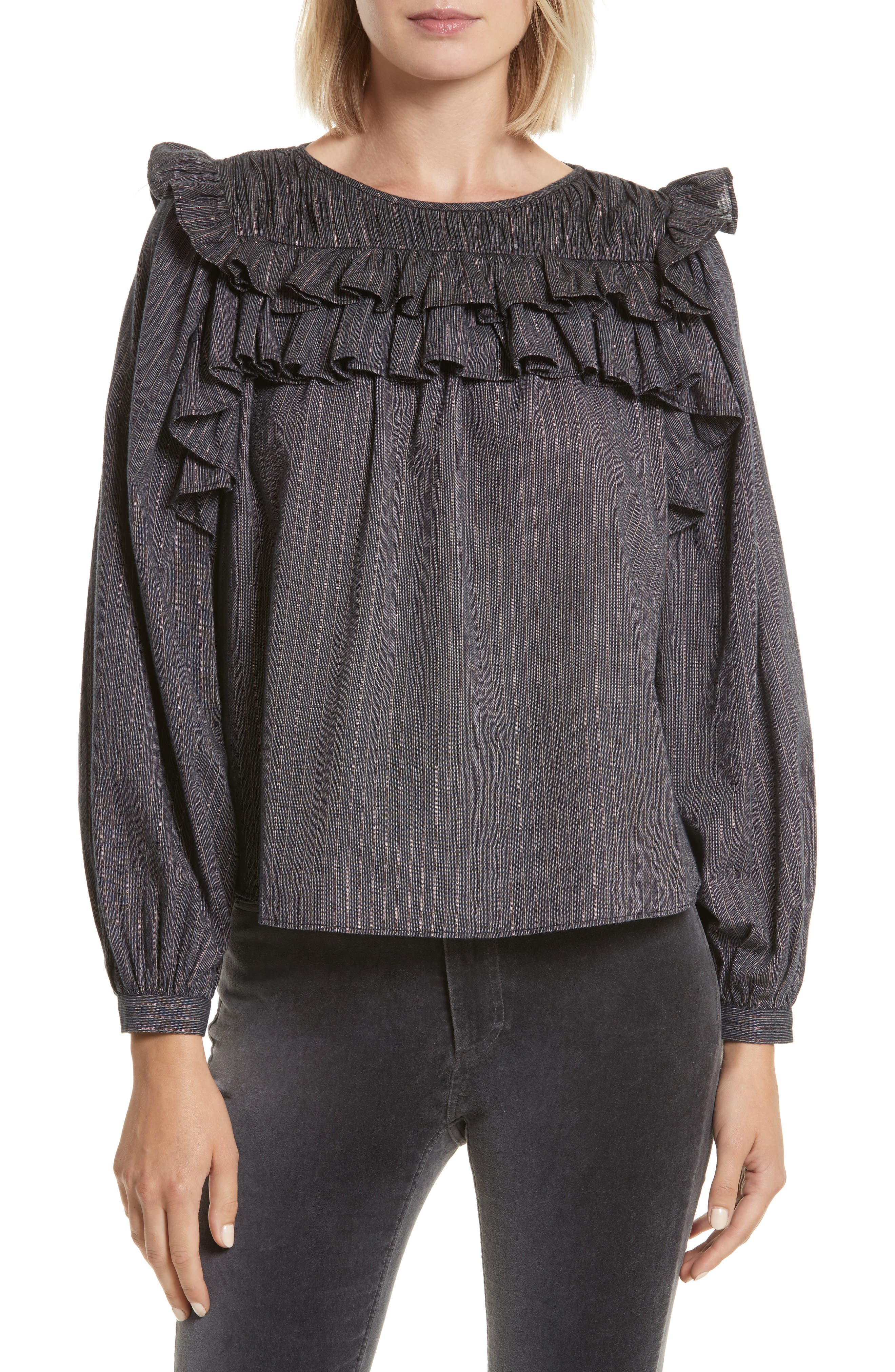 Ruffle Lurex<sup>®</sup> Stripe Blouse,                             Main thumbnail 1, color,                             Washed Black Combo