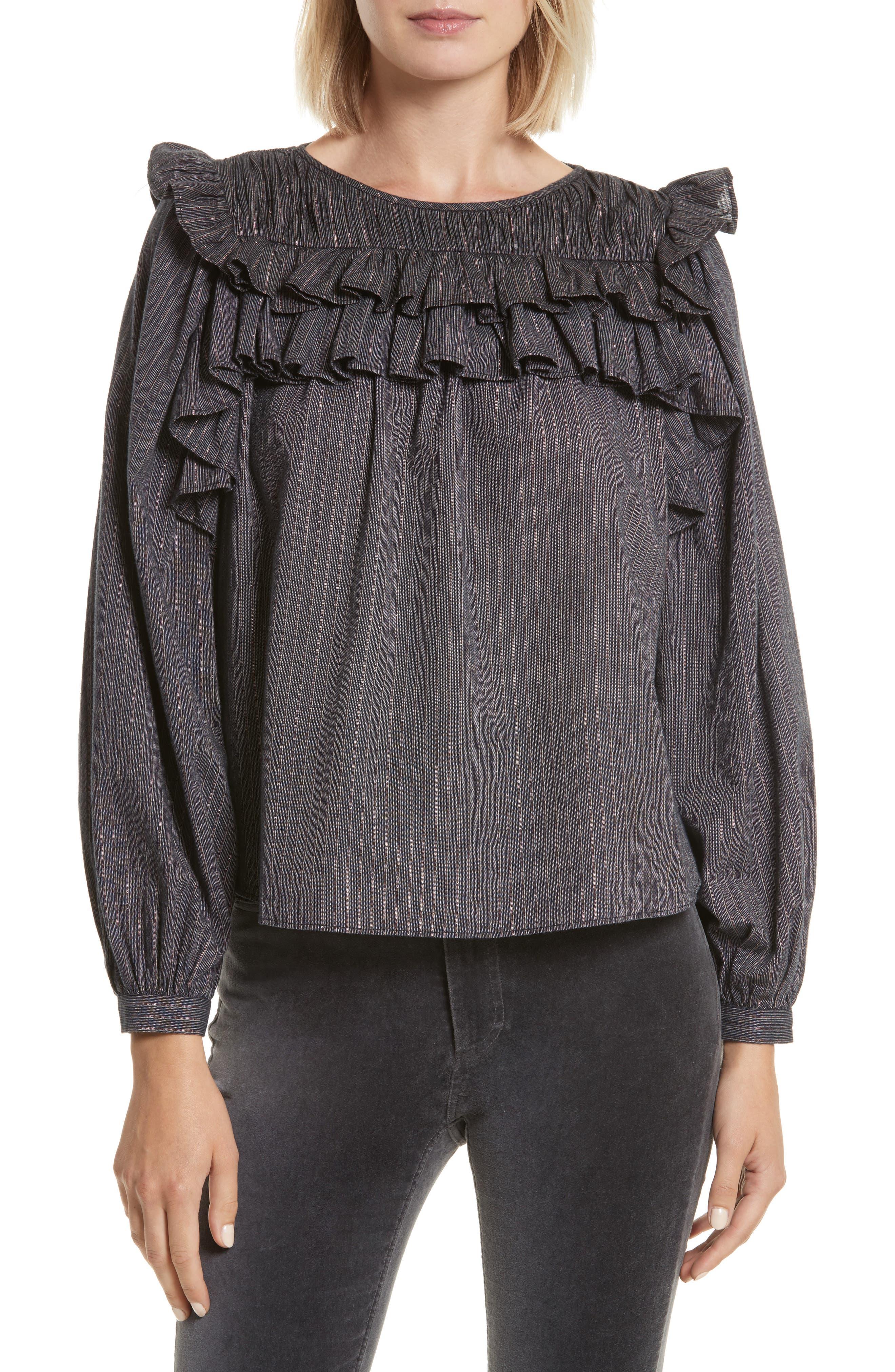 Alternate Image 1 Selected - La Vie Rebecca Taylor Ruffle Lurex® Stripe Blouse