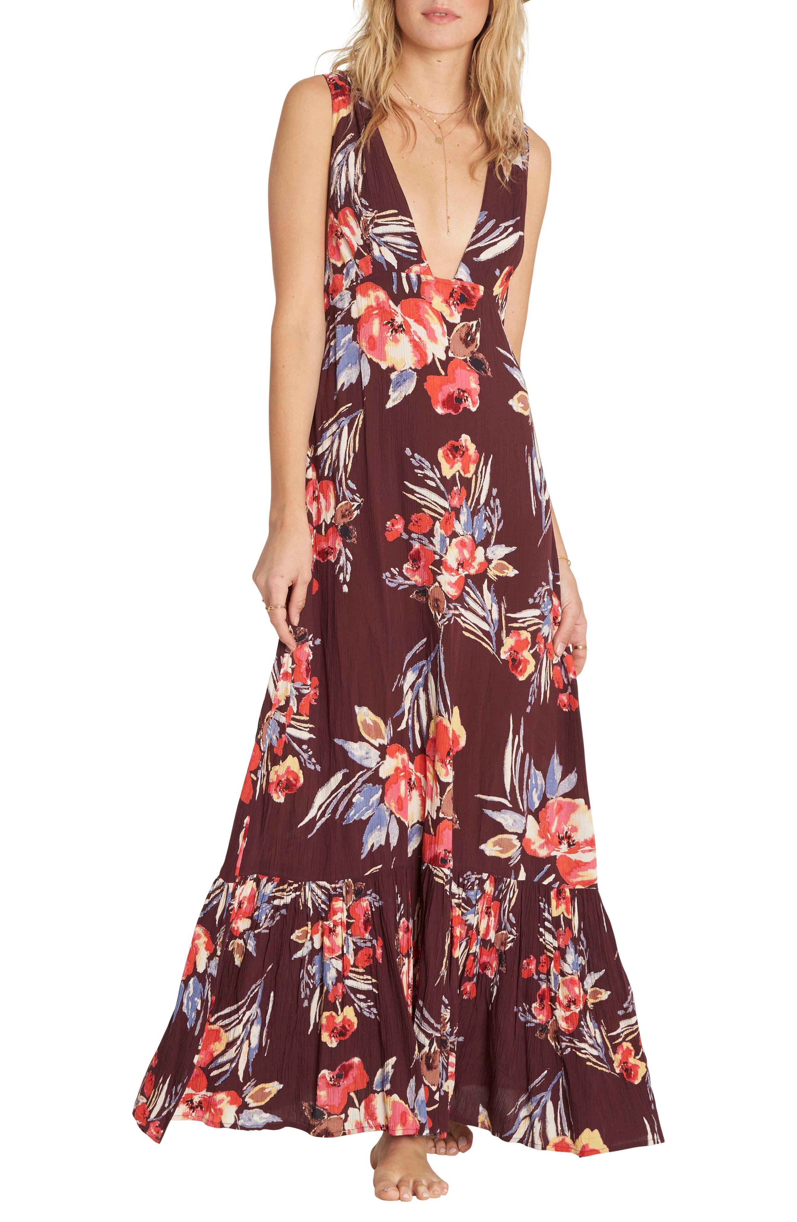 Awoke for Waves Floral Print Maxi Dress,                         Main,                         color, Bordeaux