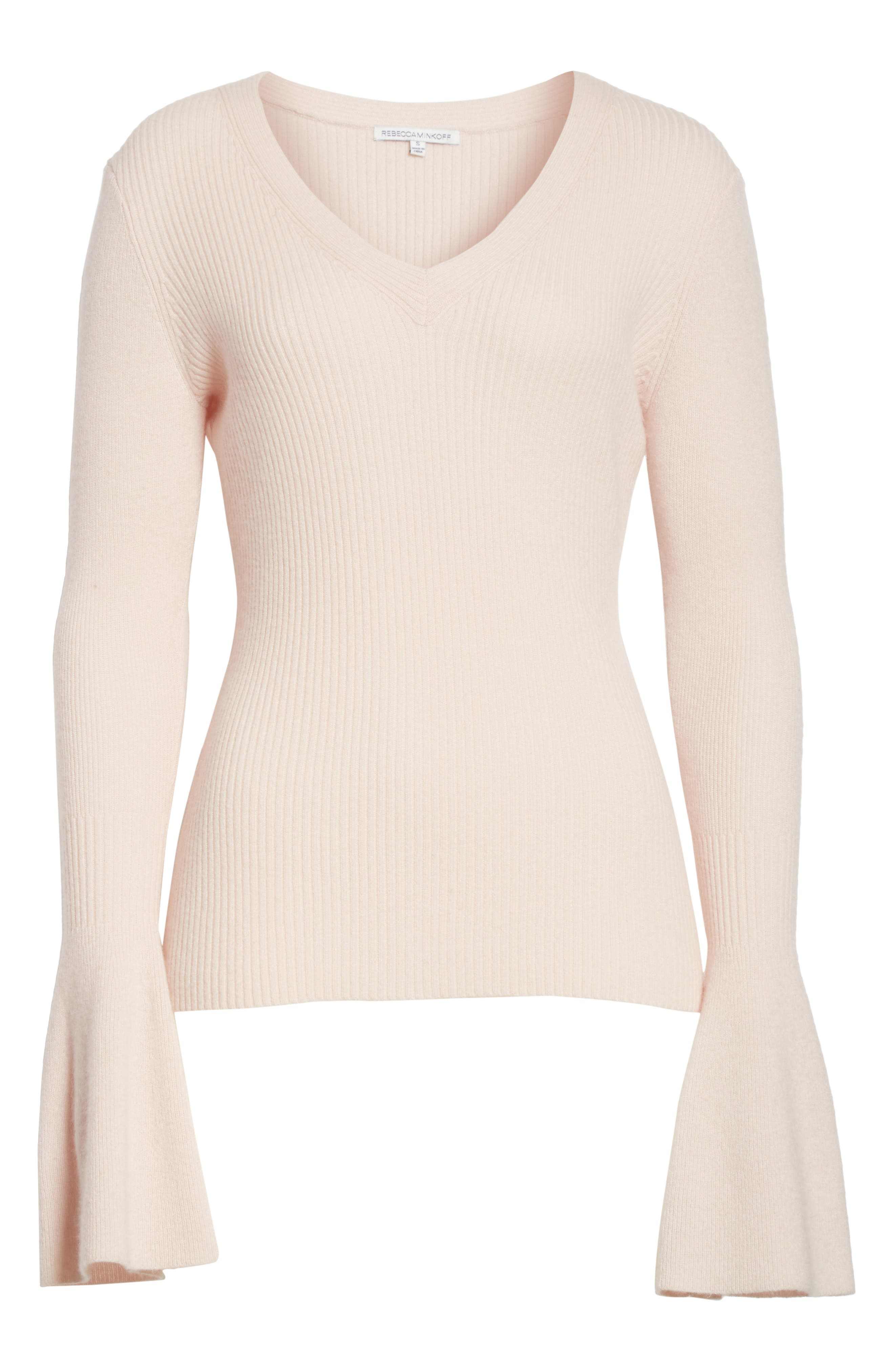 Stevie Bell Sleeve Sweater,                             Alternate thumbnail 6, color,                             Soft Pink