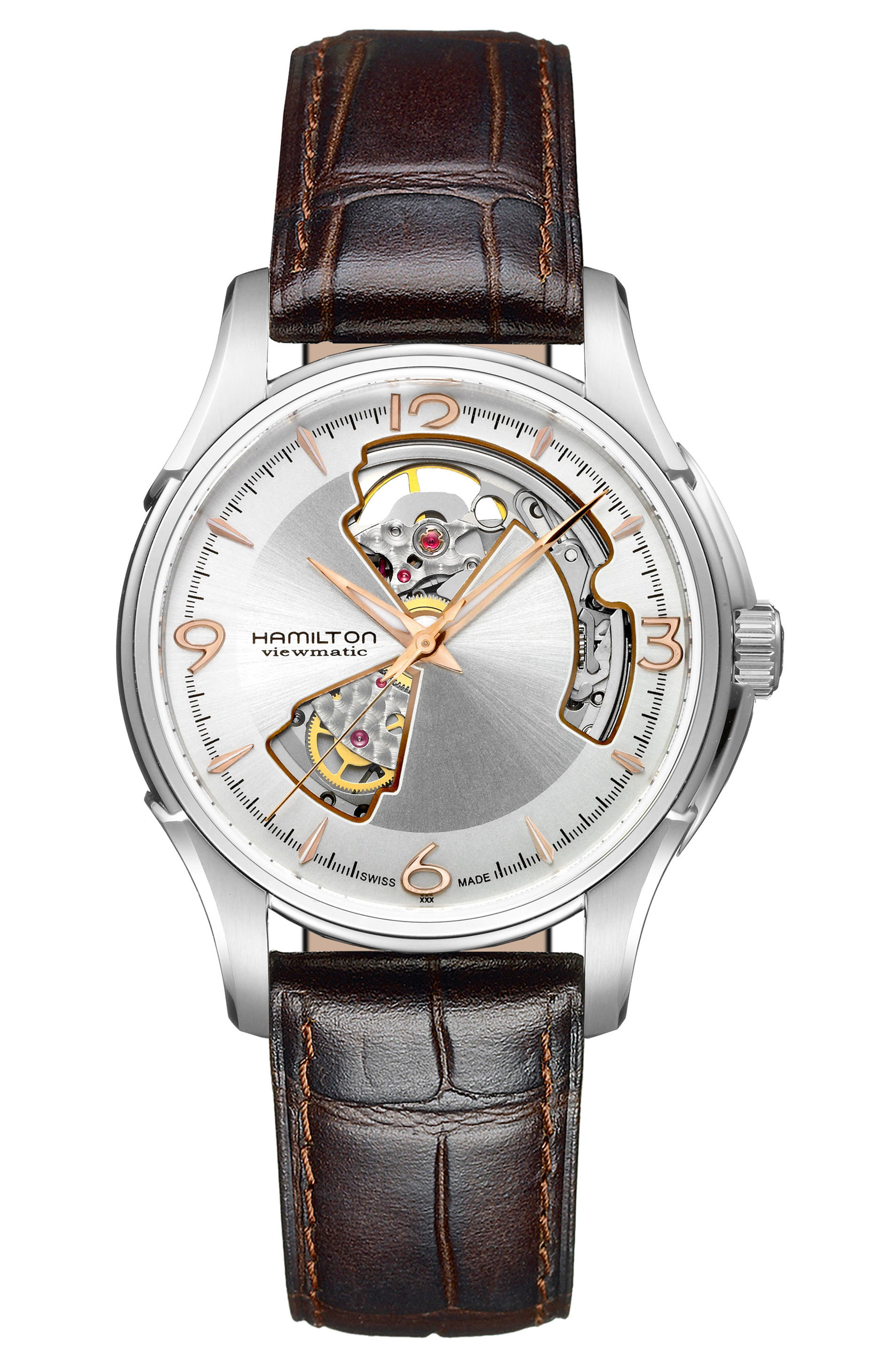 Jazzmaster Open Heart Automatic Leather Strap Watch, 40mm,                         Main,                         color, Brown/ Silver