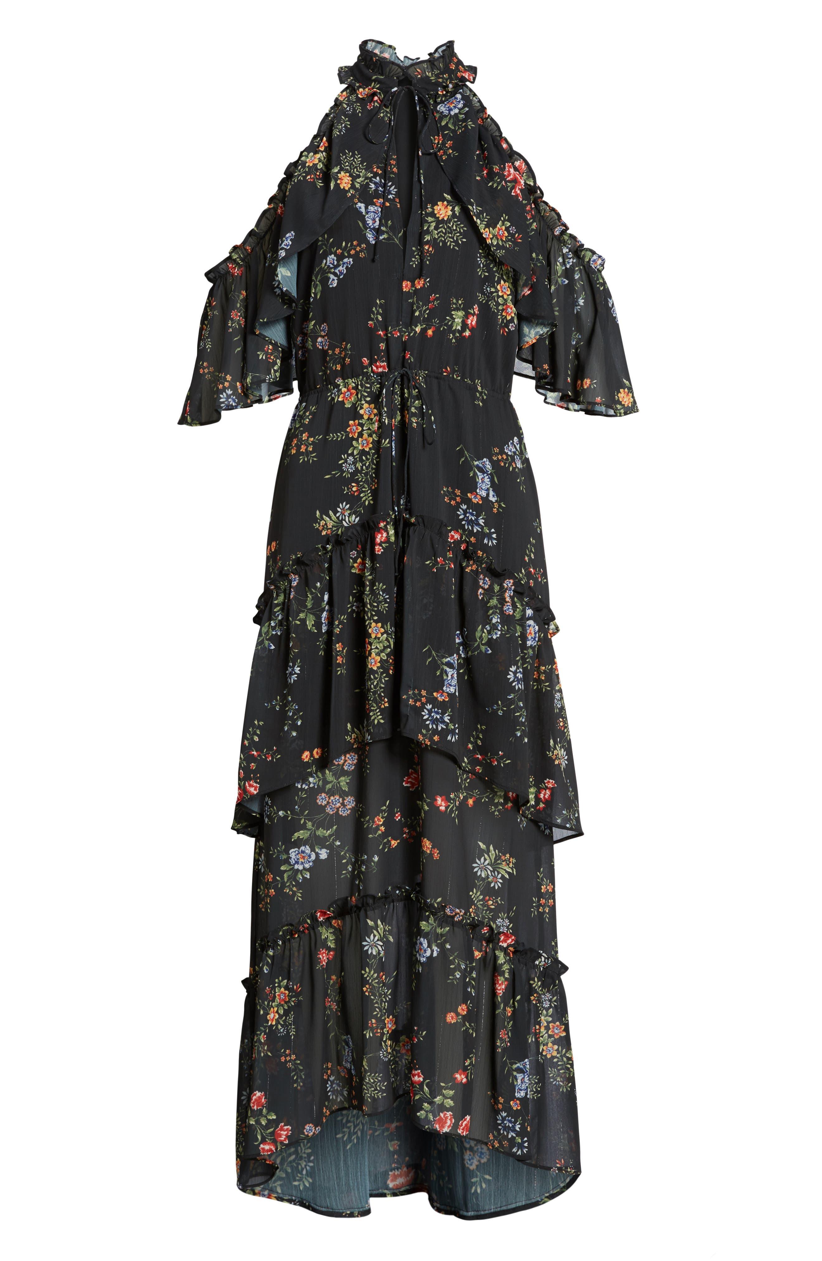 London Cold Shoulder Maxi Dress,                             Alternate thumbnail 6, color,                             Black Floral