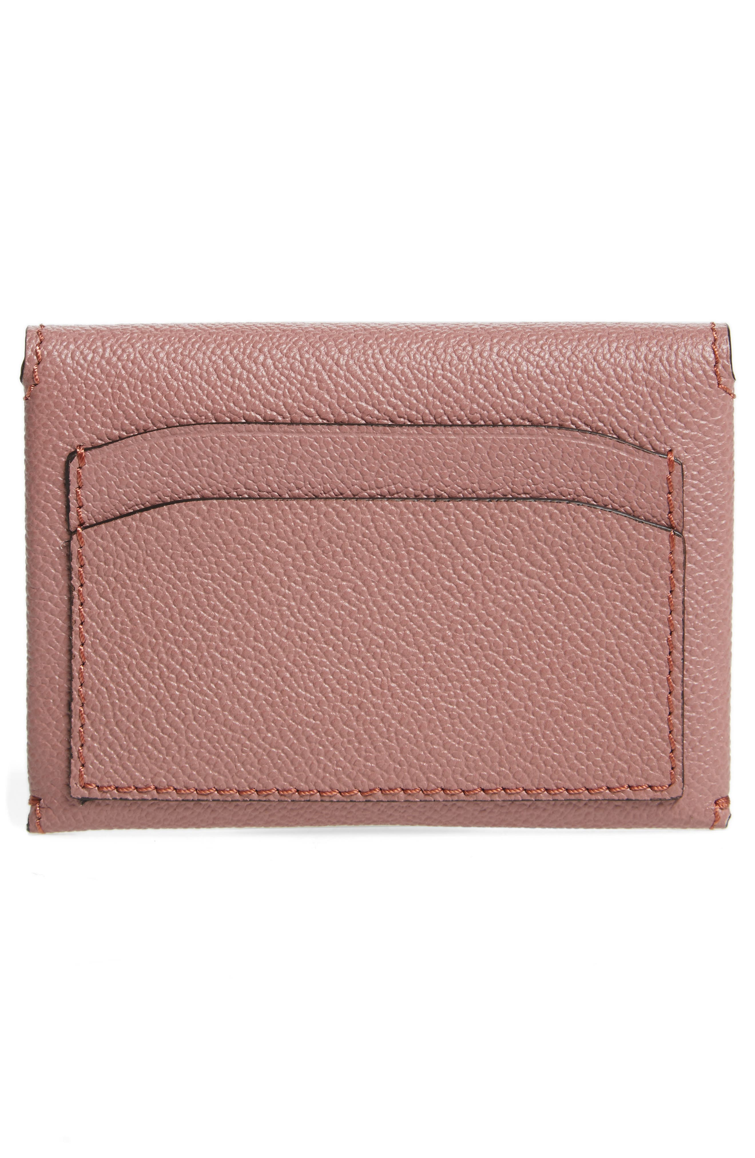 Mayfield Leather Card Case,                             Alternate thumbnail 3, color,                             Dusty Pink / Multi