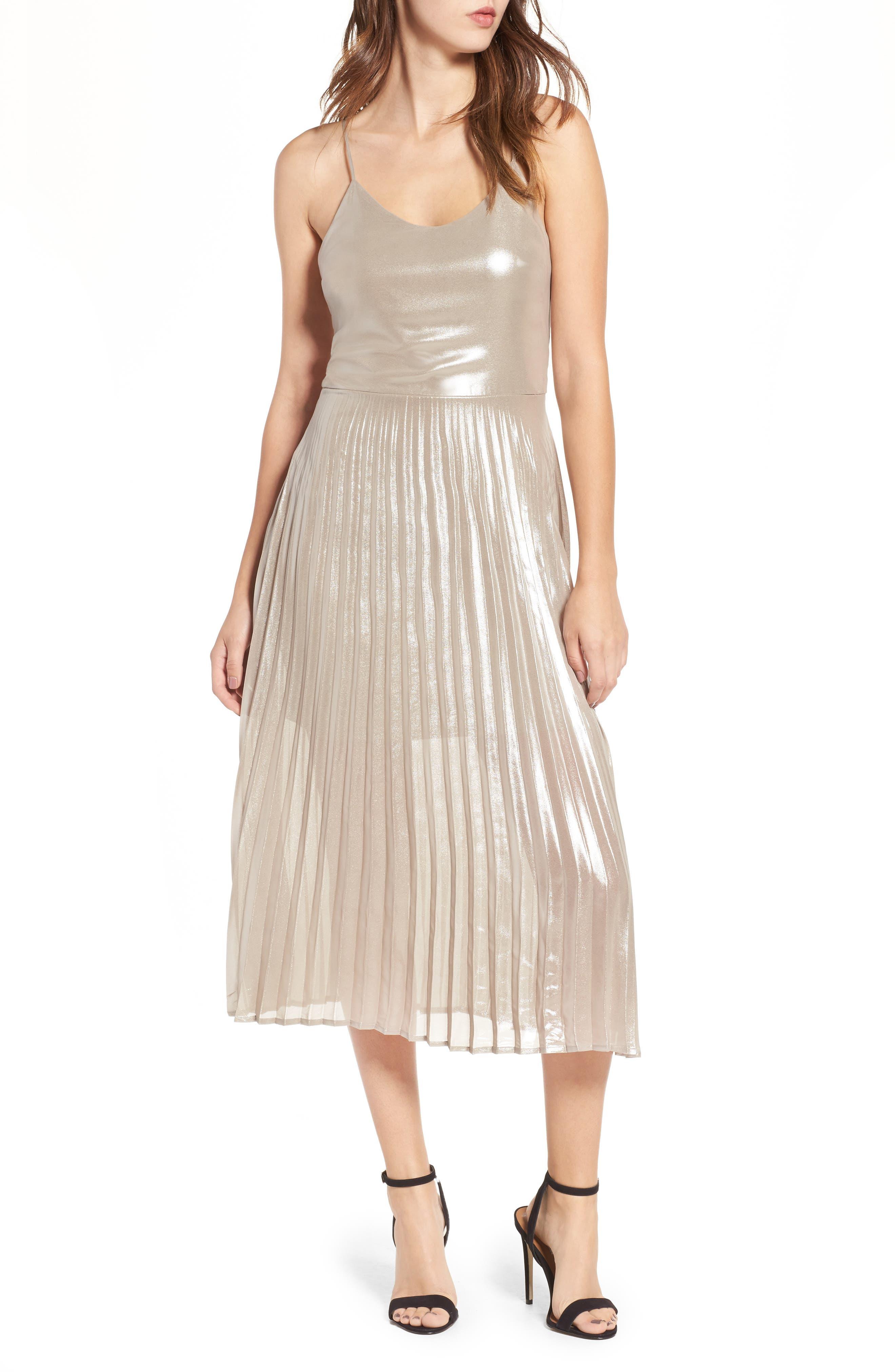 Love, Fire Metallic Pleated Midi Dress
