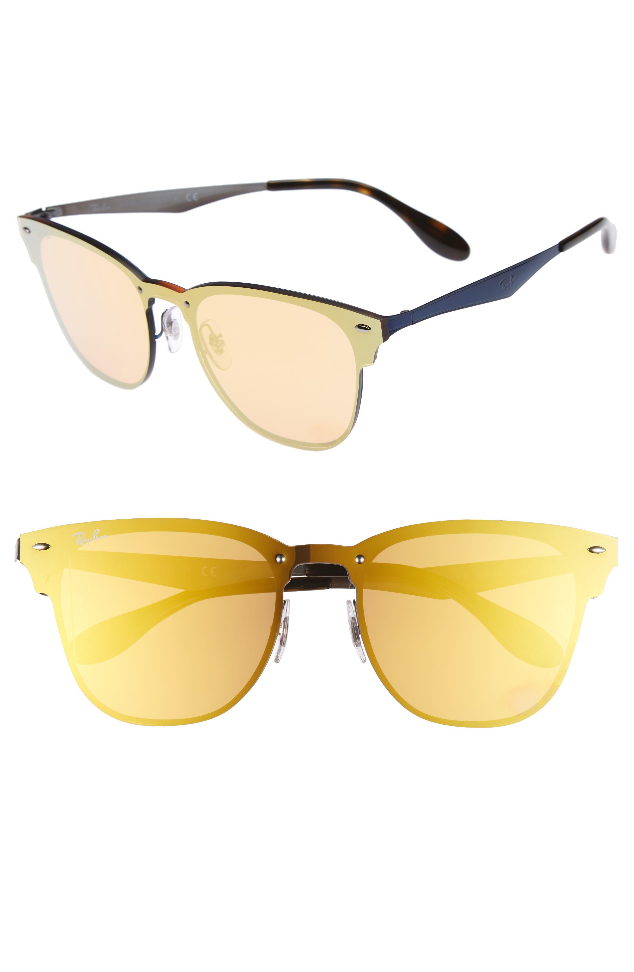 52mm Mirrored Sunglasses,                         Main,                         color, Blue/ Orange