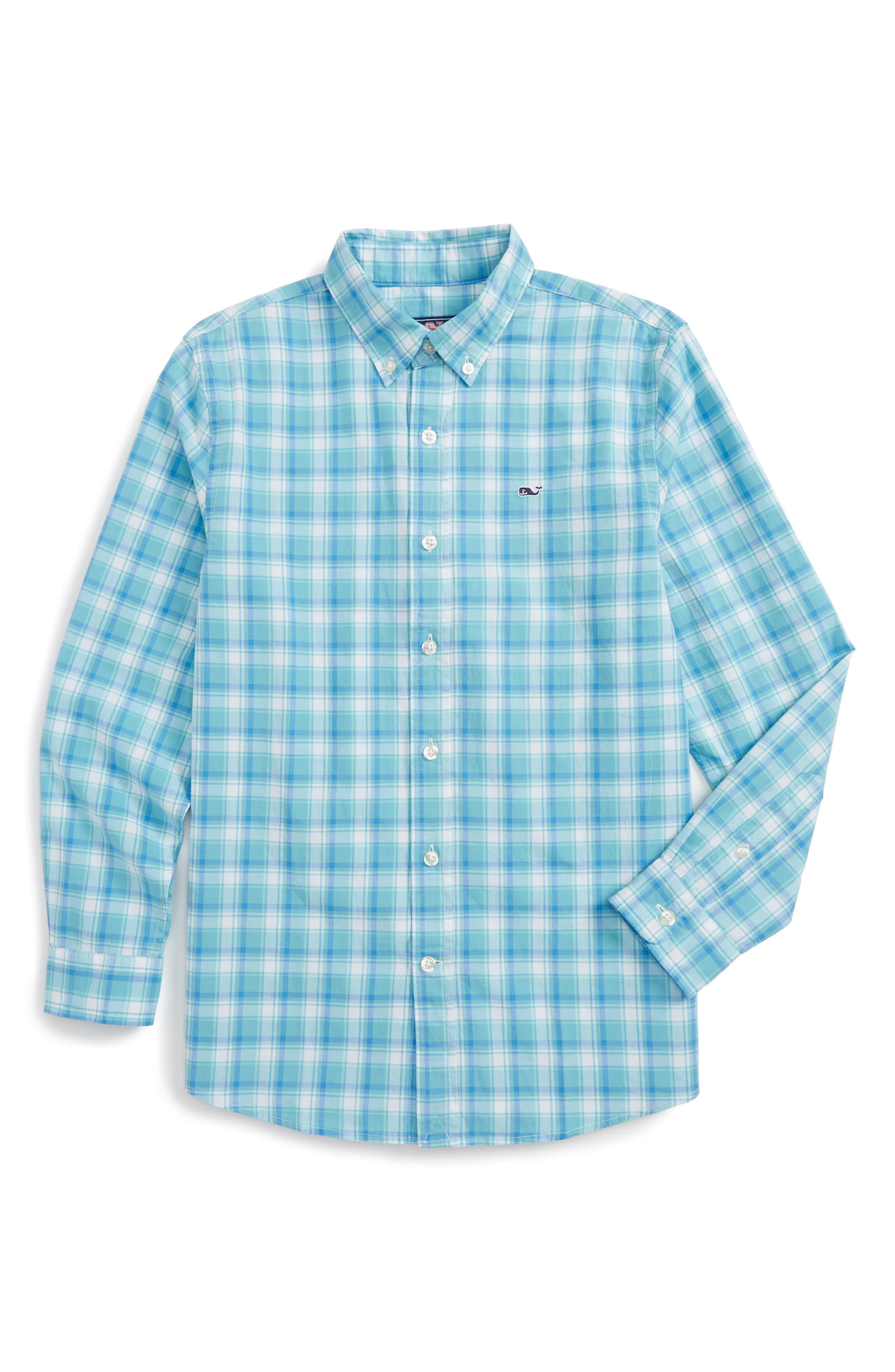Point Plaid Cotton Shirt,                             Main thumbnail 1, color,                             Aqua Ocean