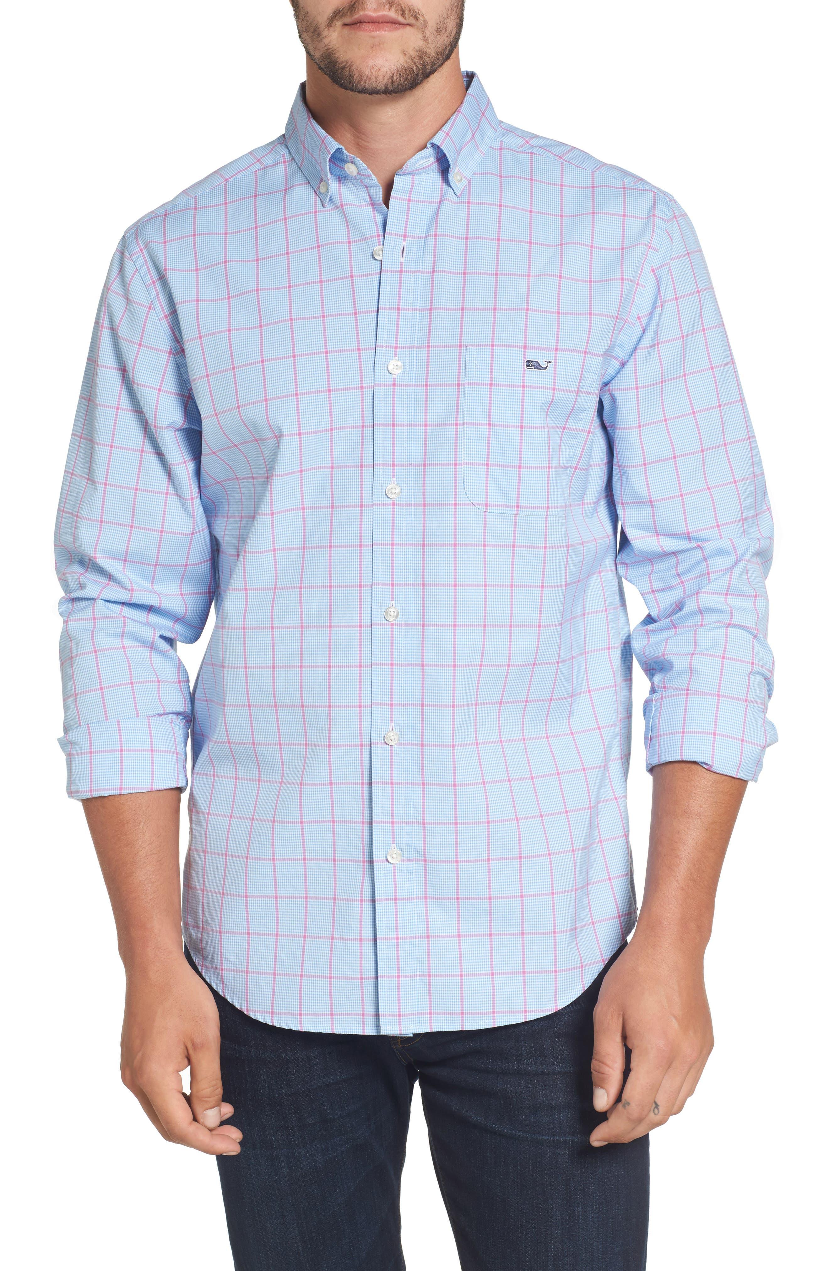 Murray Slim Fit Inlet Check Sport Shirt,                         Main,                         color, Allium