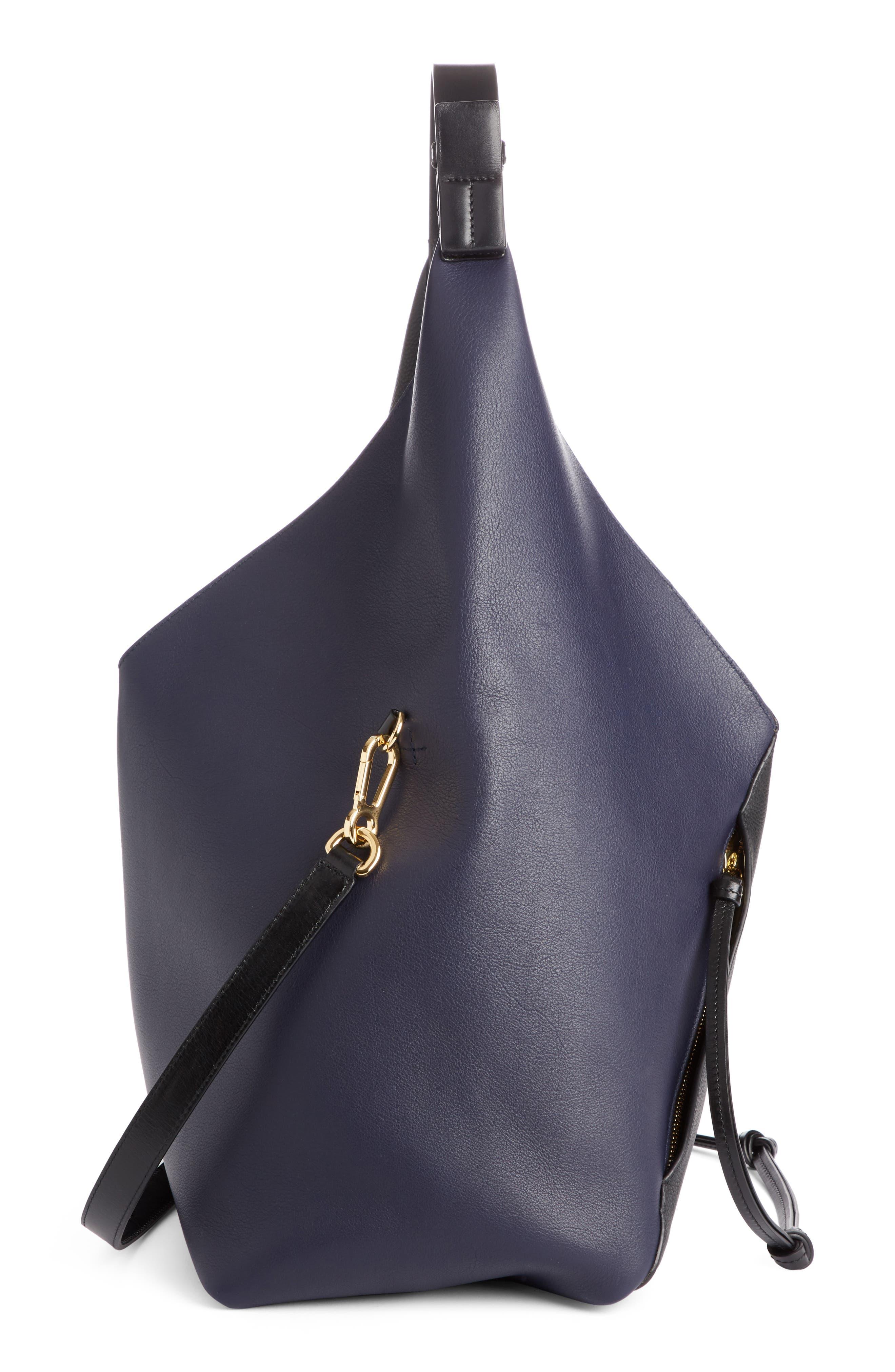Calfskin Leather Sling Bag,                             Alternate thumbnail 4, color,                             Midnight Blue/ Black