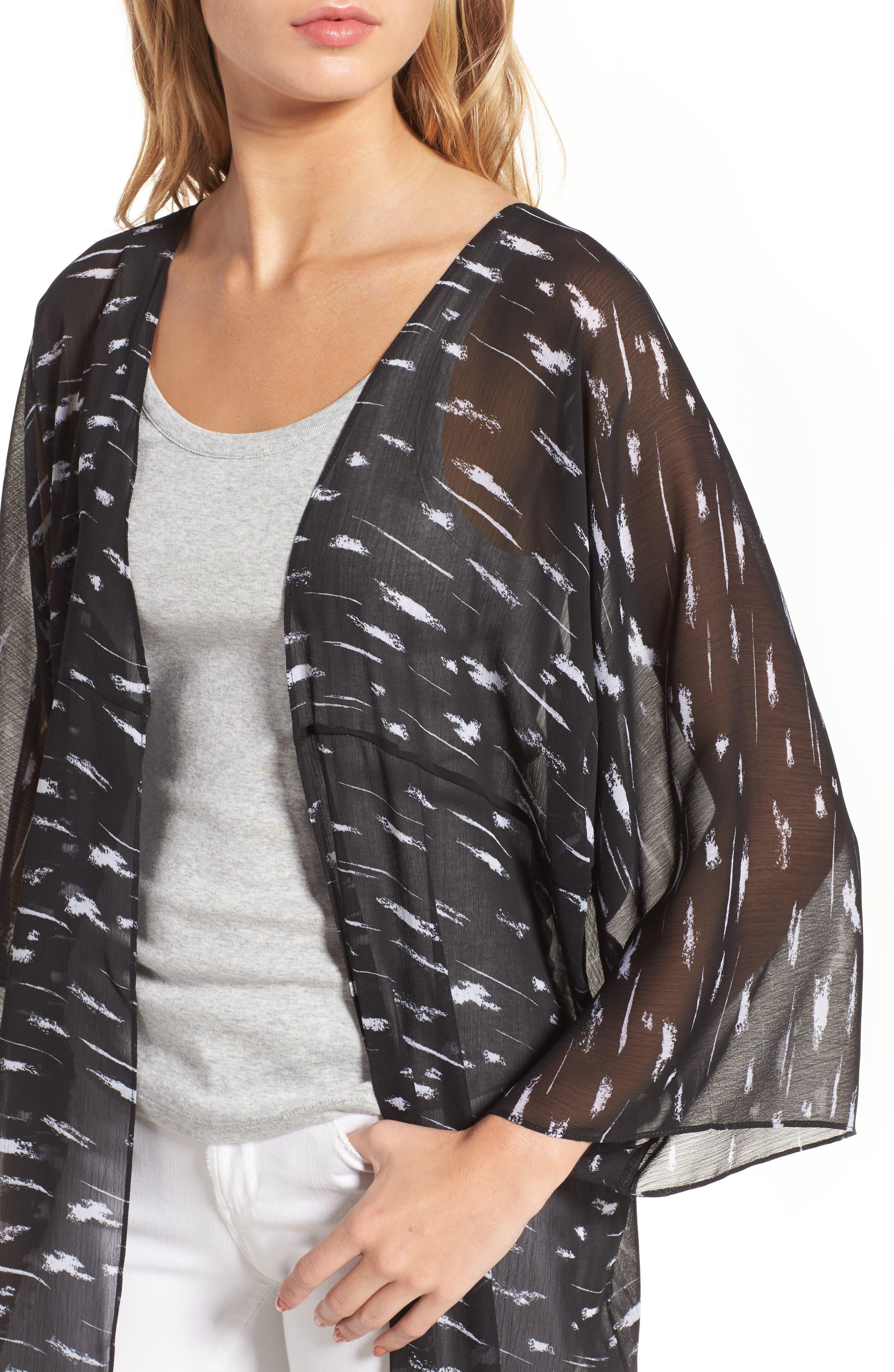 Print Duster Kimono,                             Alternate thumbnail 4, color,                             Black Painted Lines