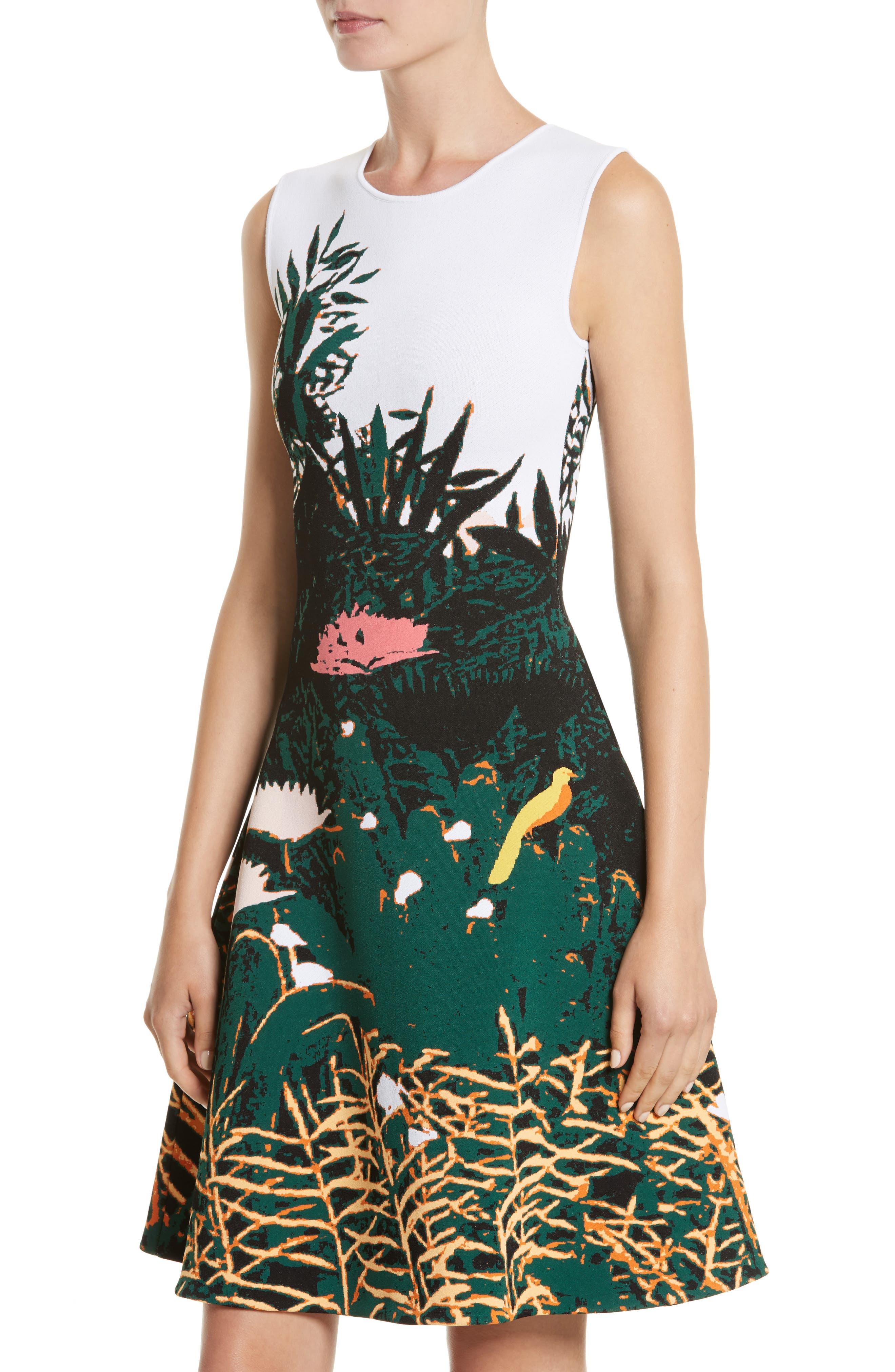 Sunset Intarsia Knit Dress,                             Alternate thumbnail 4, color,                             Multi
