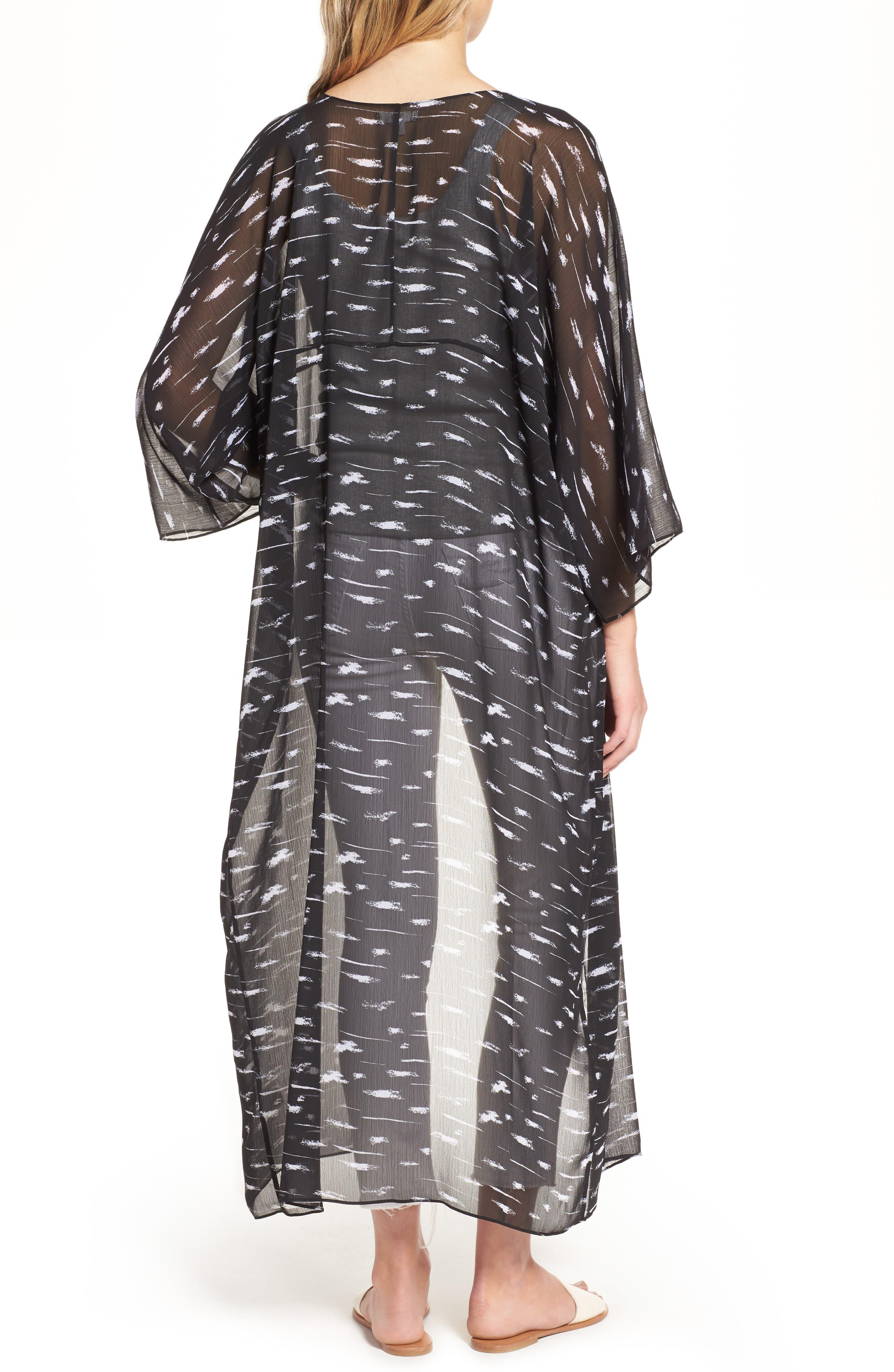 Print Duster Kimono,                             Alternate thumbnail 2, color,                             Black Painted Lines