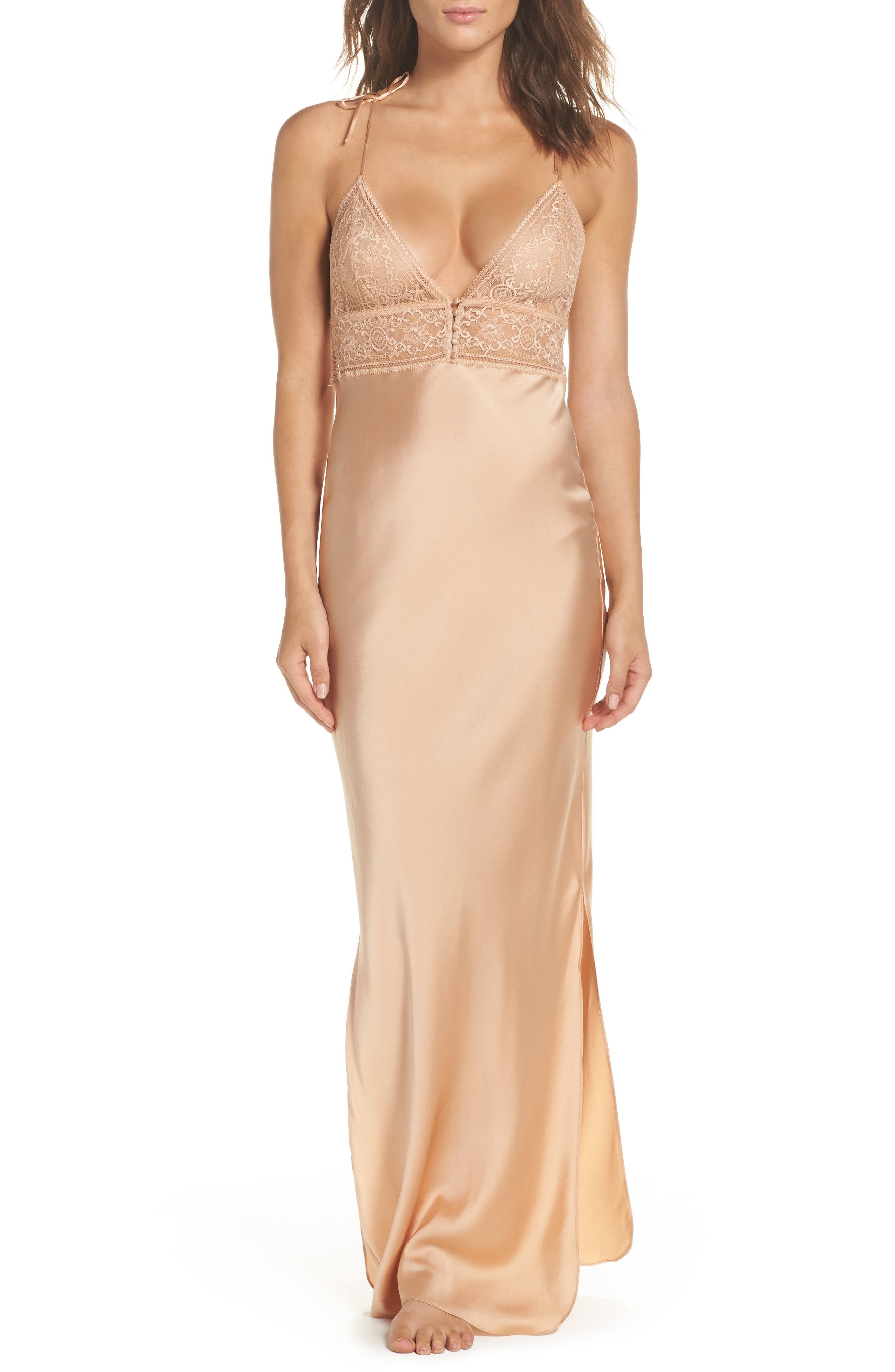 Ophelia Whistling Lace & Silk Nightgown,                             Main thumbnail 1, color,                             Deep Nude