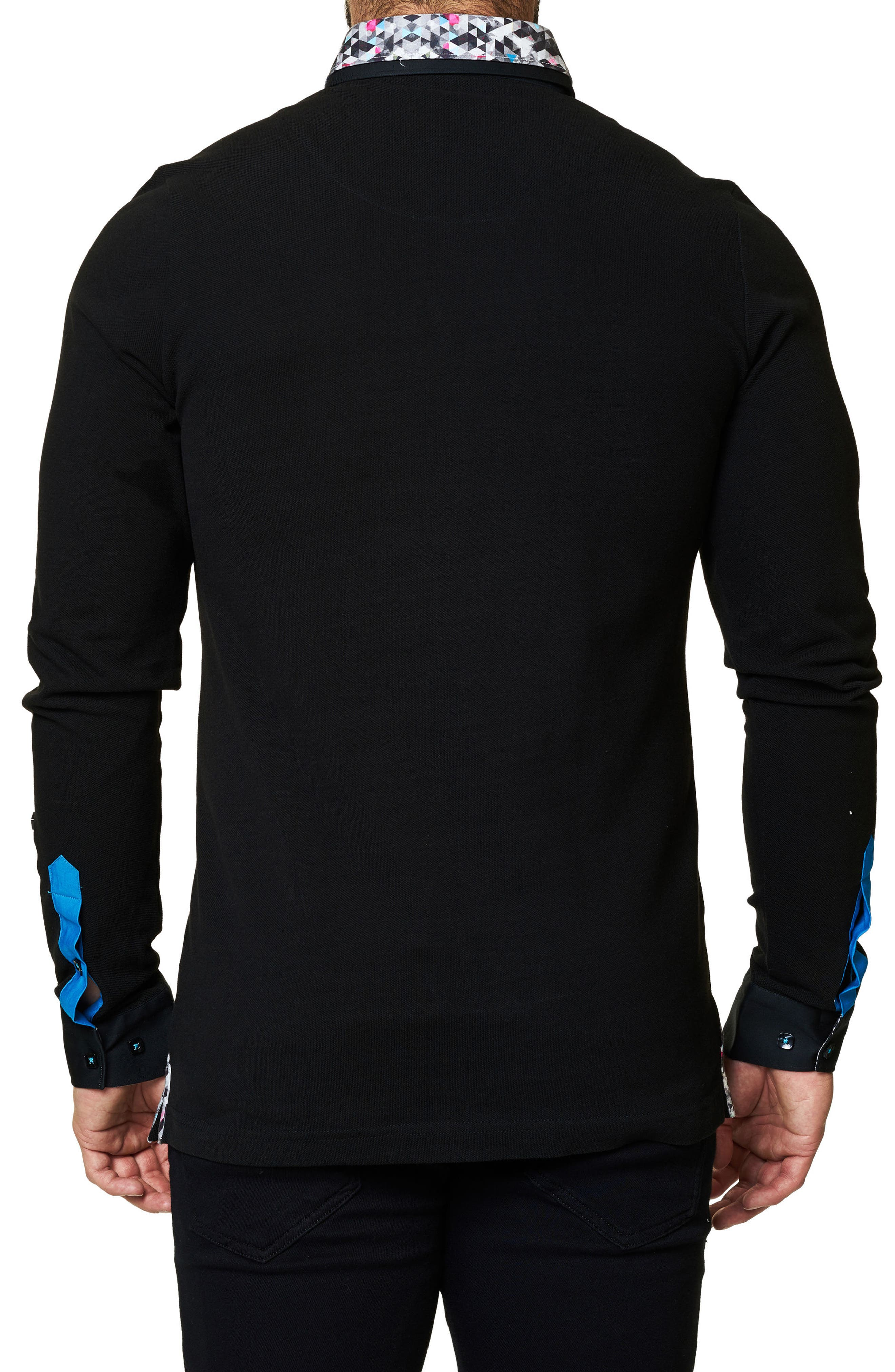 Alternate Image 2  - Maceoo Slim Fit Woven Trim Long Sleeve Polo