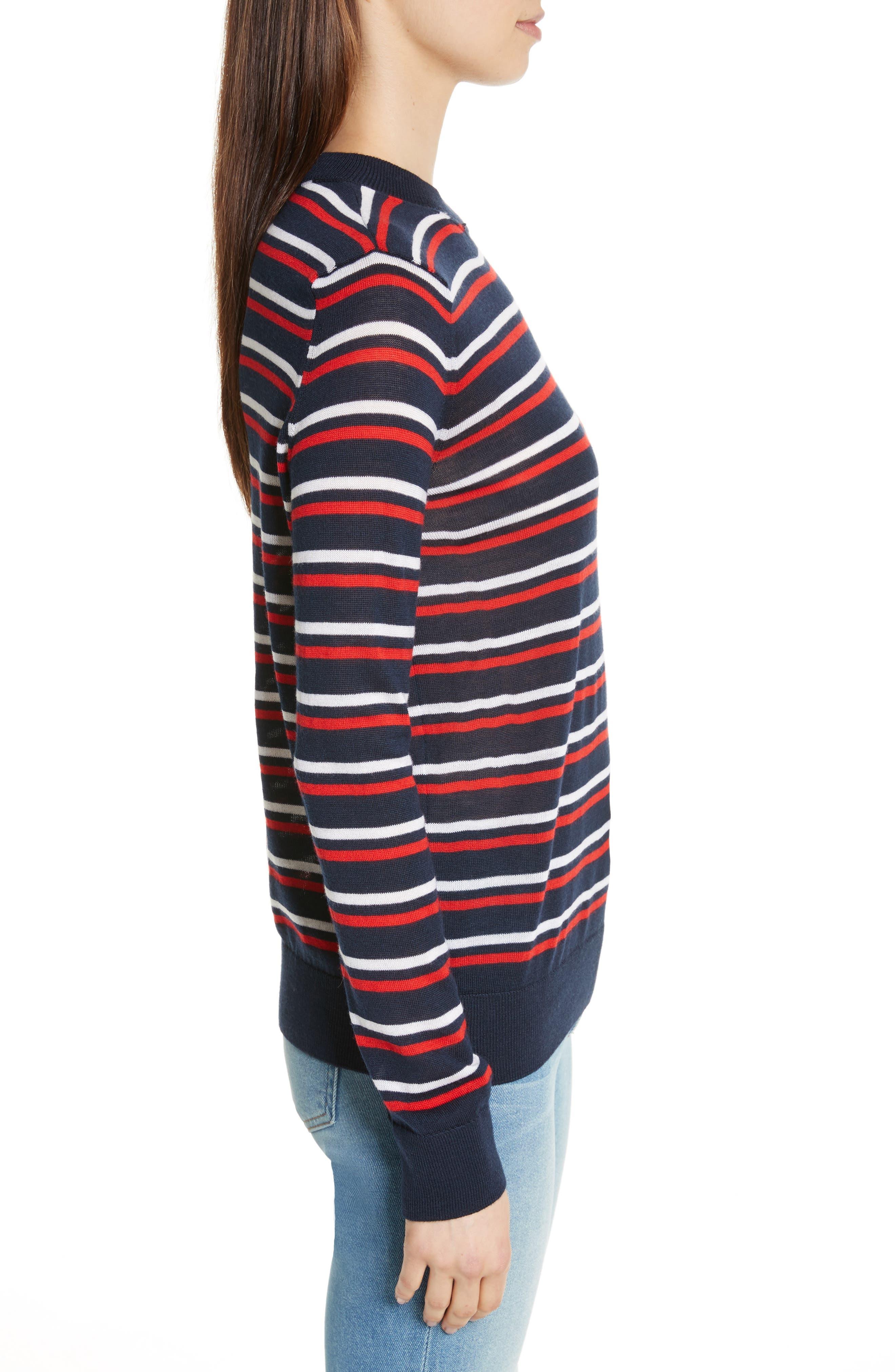 être cécile Stripe Knit Boyfriend Sweater,                             Alternate thumbnail 3, color,                             Marine Blue/ Red/ White