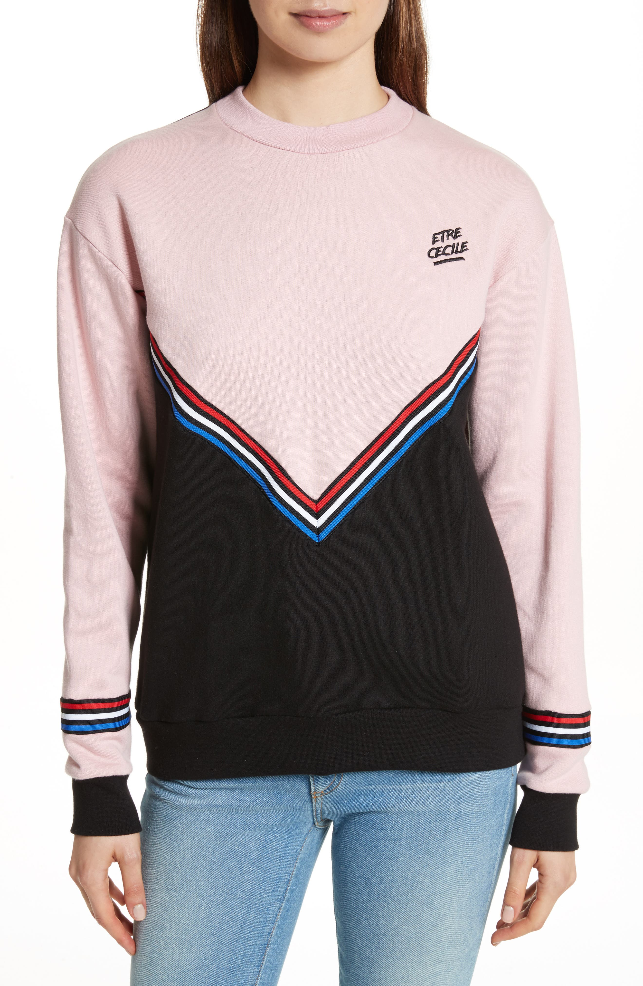 être cécile Chevron Cotton Boyfriend Sweatshirt