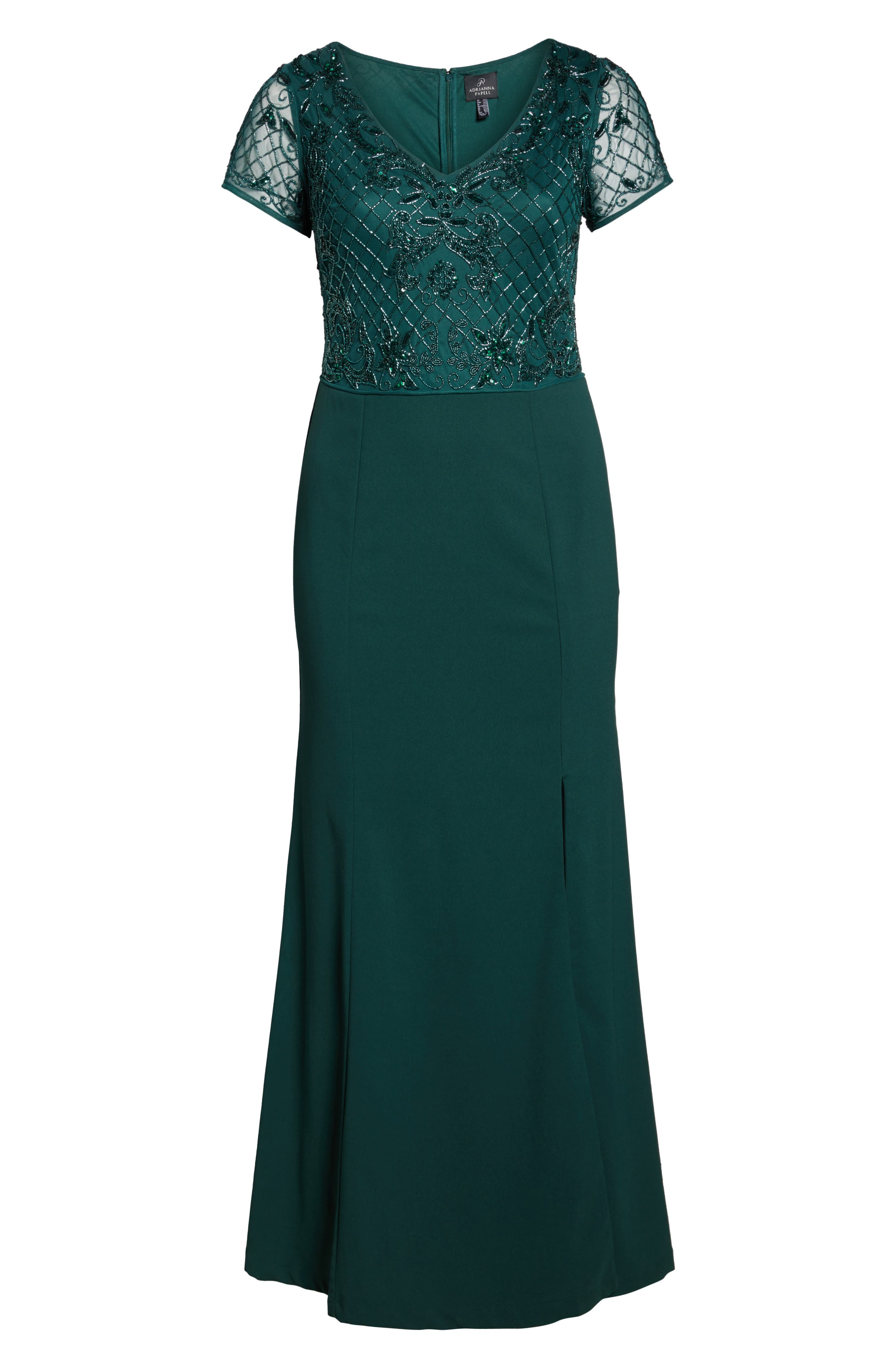 Alternate Image 6  - Adrianna Papell Beaded Crepe Gown (Plus Size)