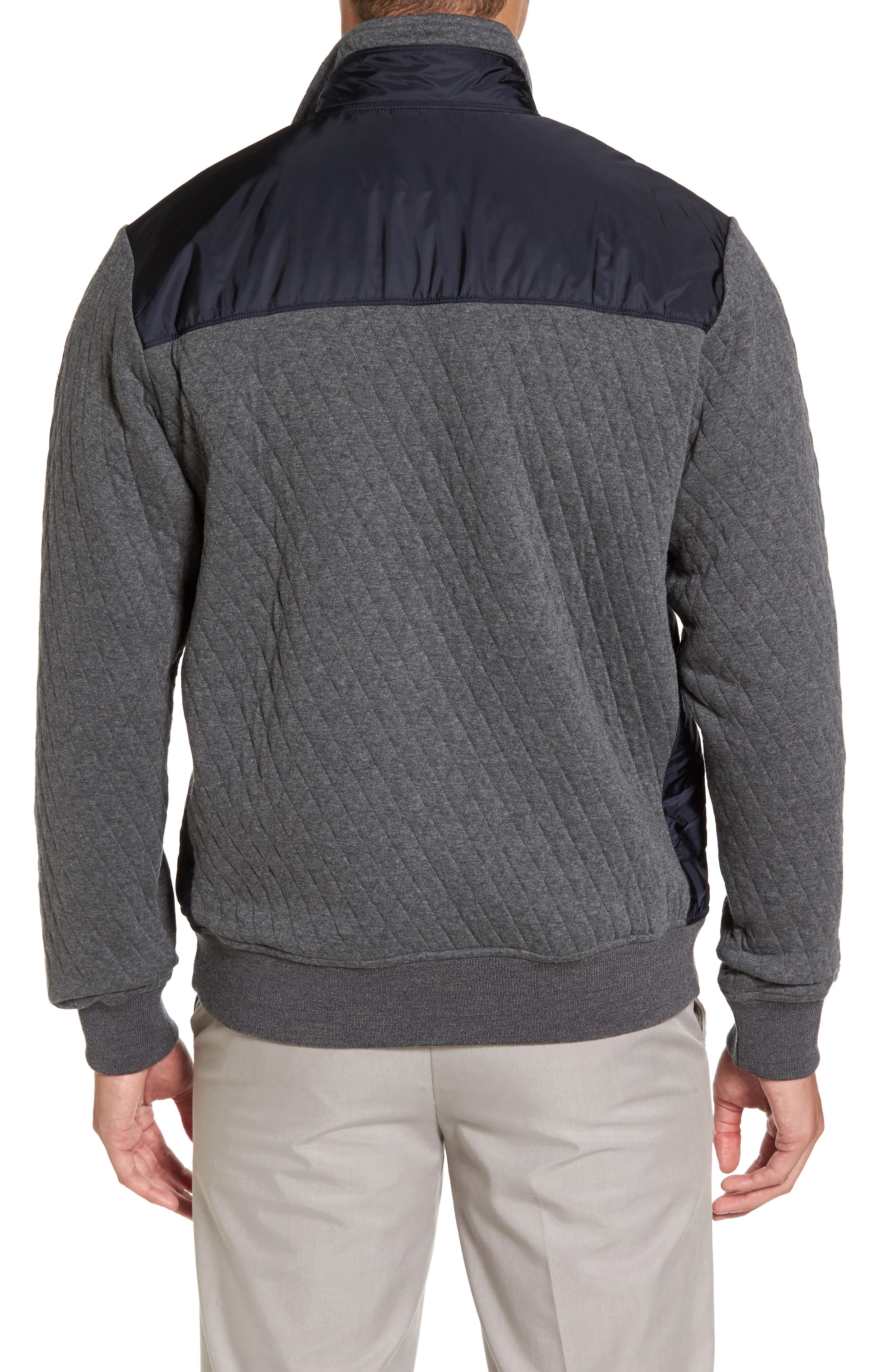 Paul&Shark Colorblock Mixed Media Zip Front Jacket,                             Alternate thumbnail 2, color,                             Navy / Grey