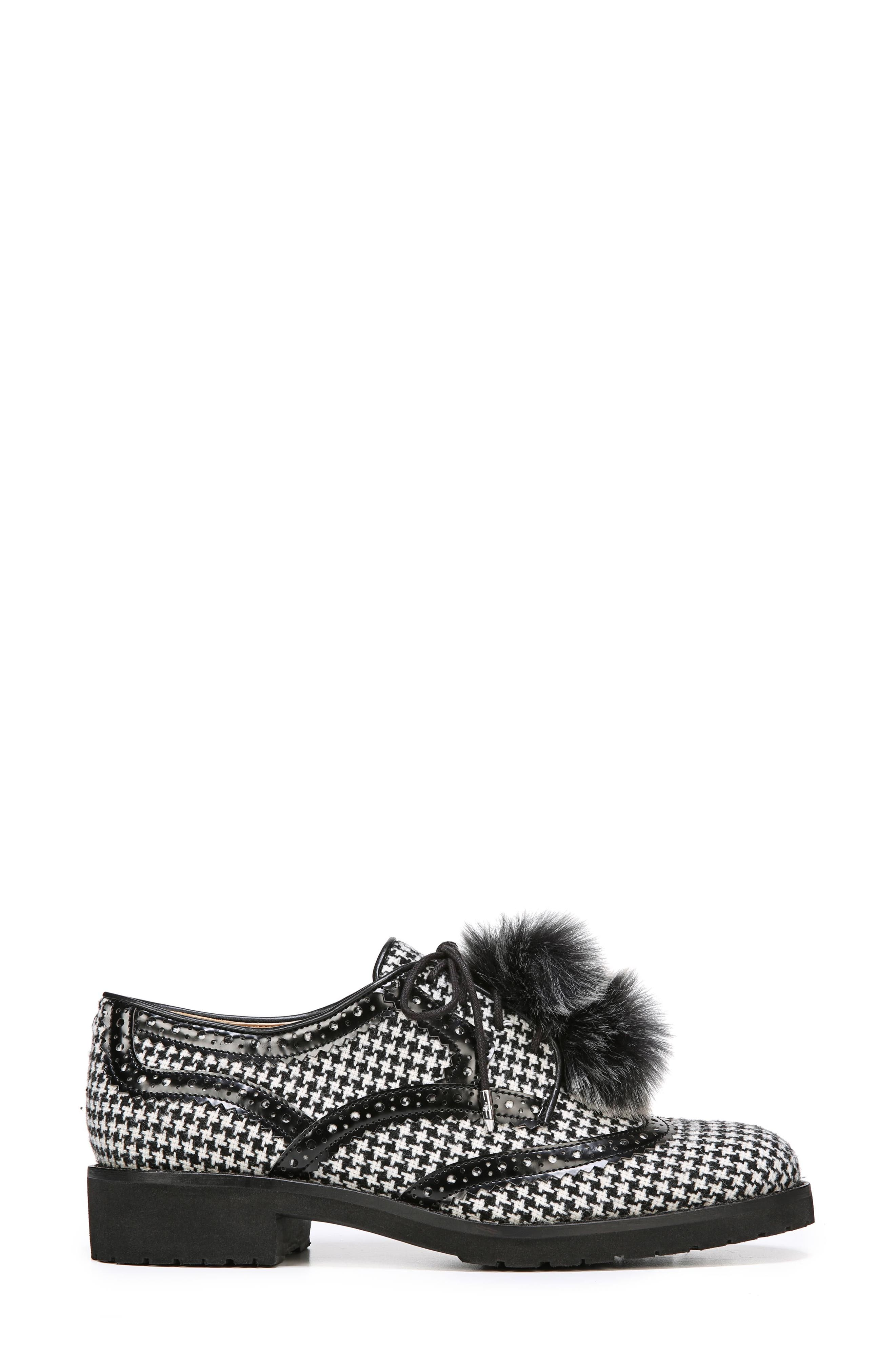 Dahl Oxford with Faux Fur Pompom,                             Alternate thumbnail 3, color,                             Black/ White Houndstooth